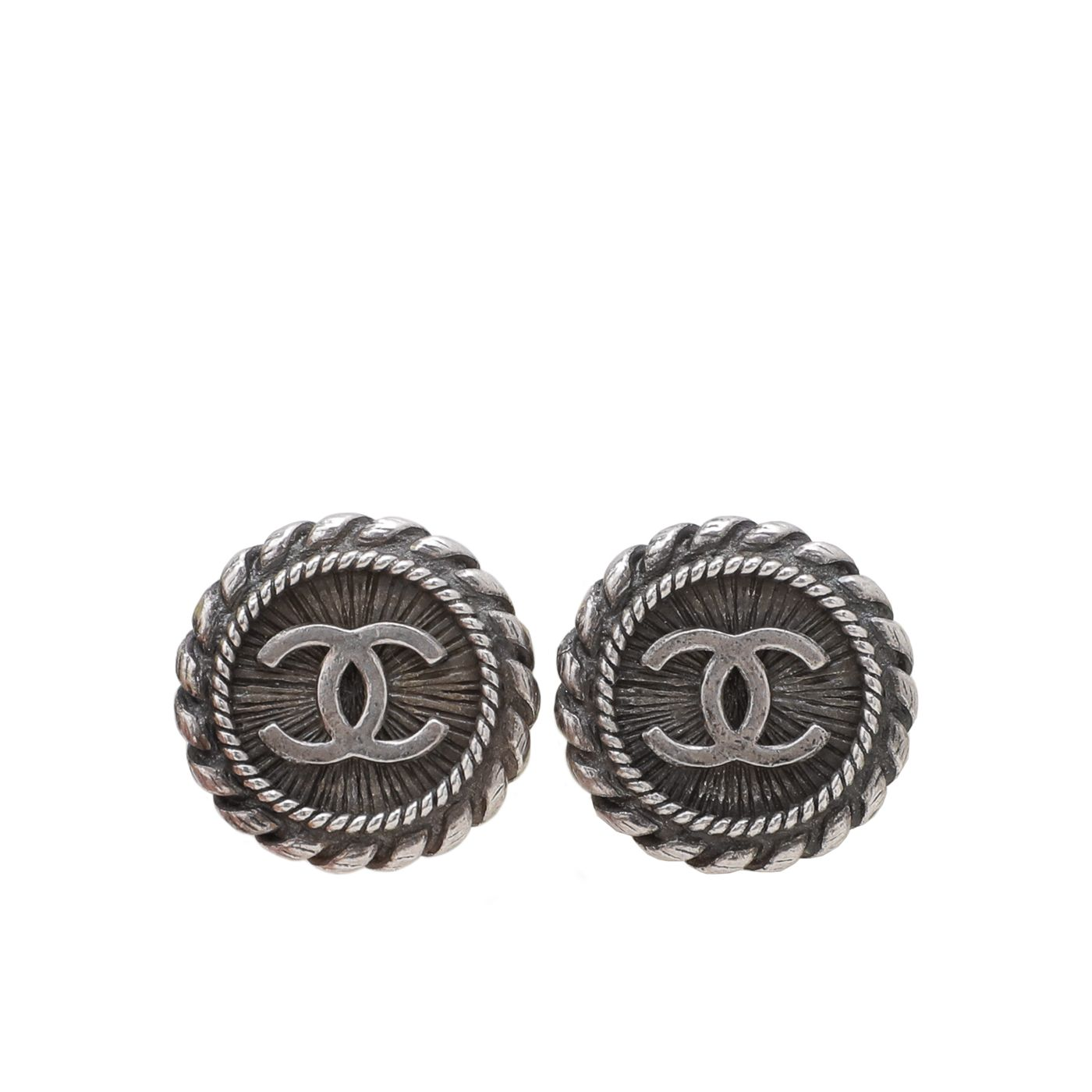 Chanel Silver CC Round Twist Clip On Earrings