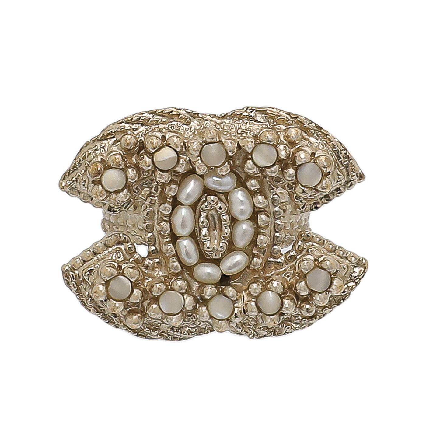 Chanel White CC Faux Pearl Ring