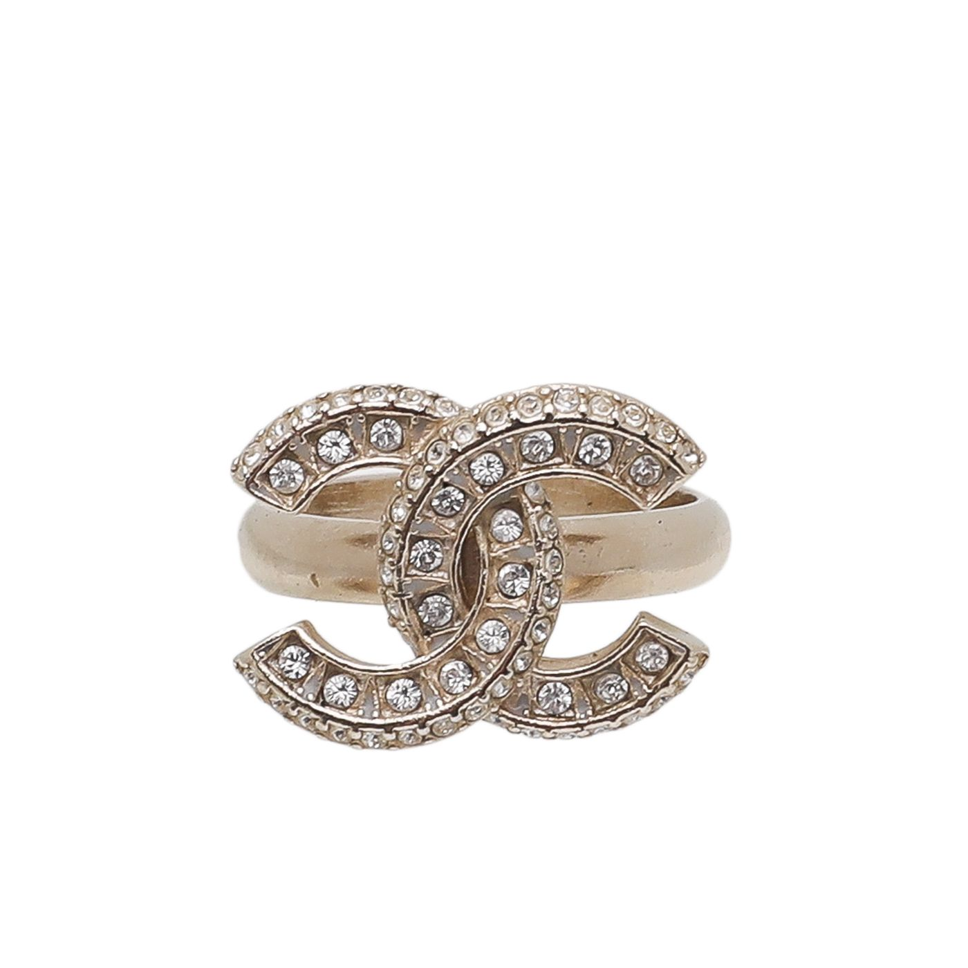 Chanel Light Gold CC with Rhinestones Ring