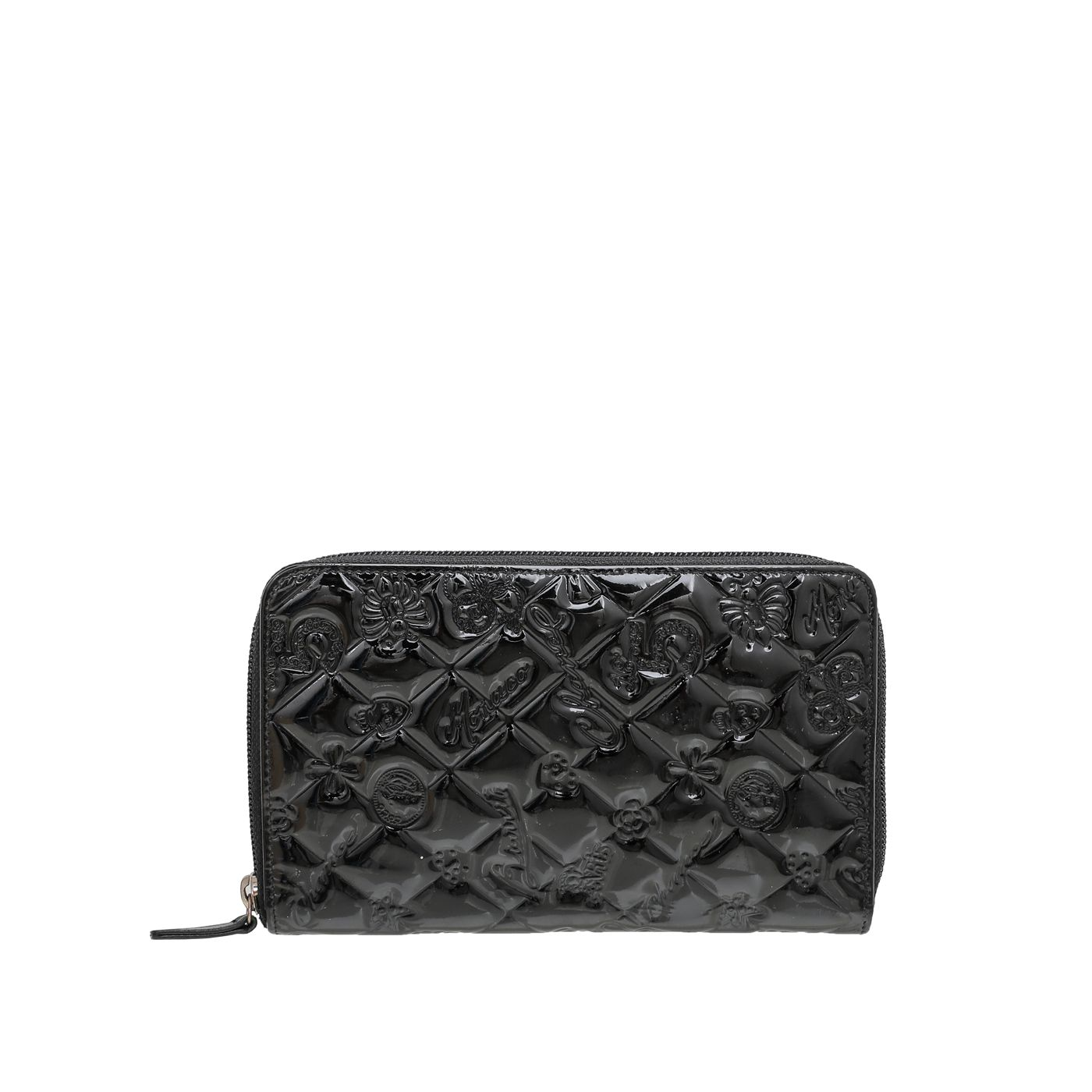 Chanel Black Charm Embossed Organizer Wallet
