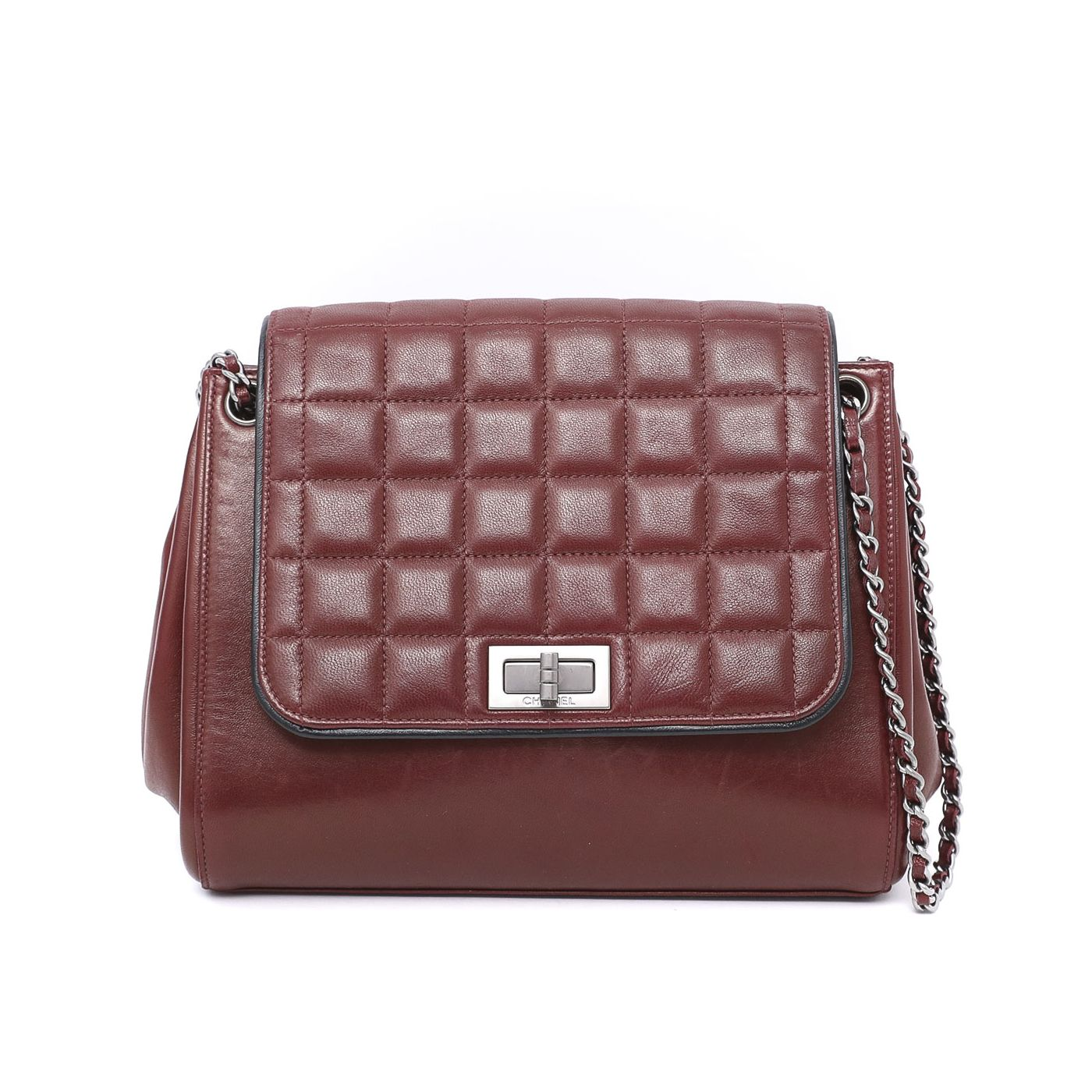 Chanel Dark Red Chocolate Bar Accordion Reissue Bag