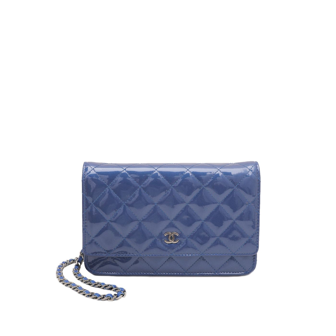 Chanel Blue Classic Wallet On Chain