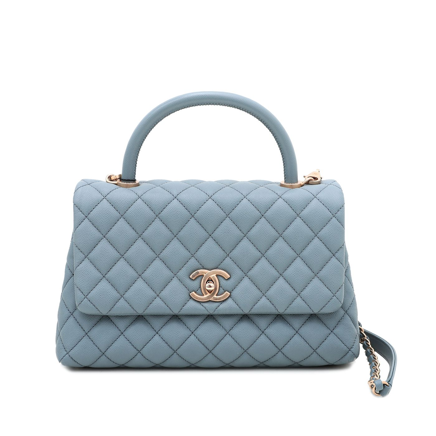 Chanel Light Blue Coco Handle Bag Small