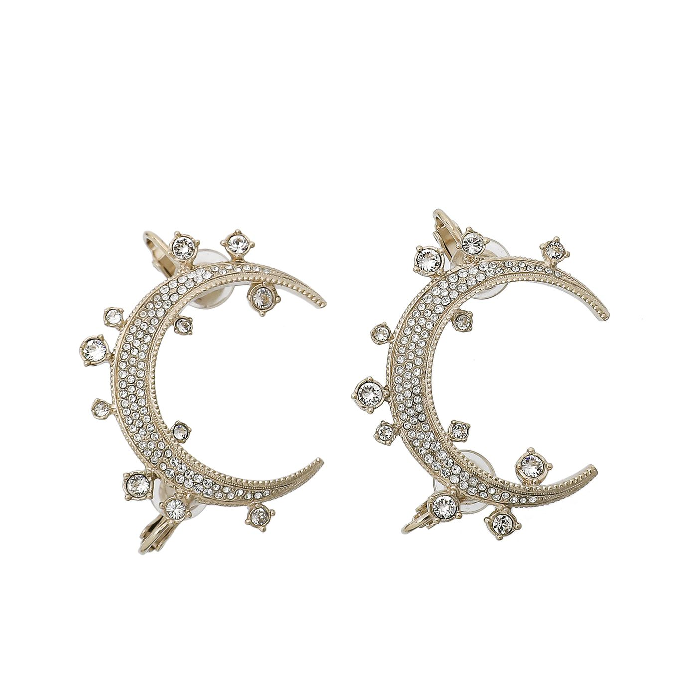 Chanel Light Gold Crystal CC Moon Clip on Cuff Earrings