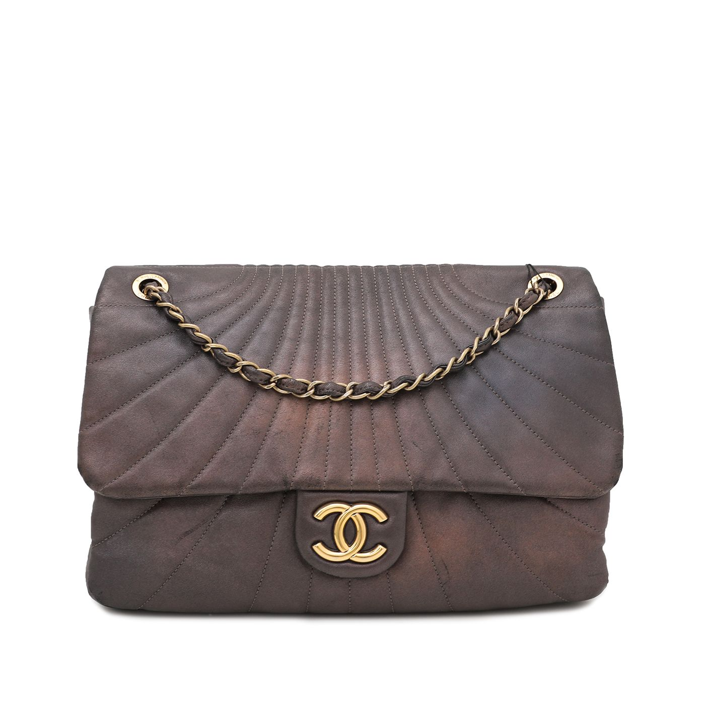 Chanel Metallic Bronze Curved Quilt Flap Bag