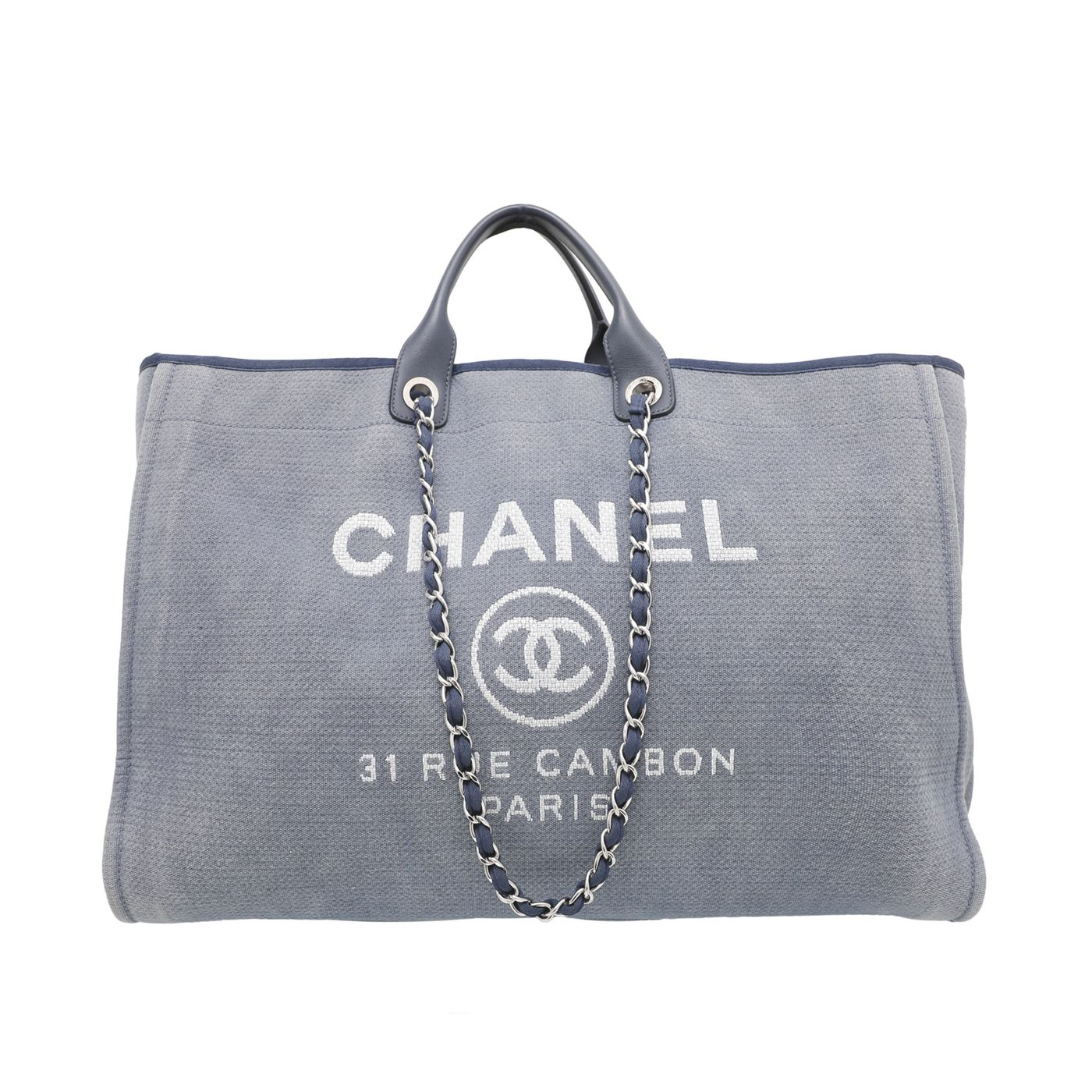 Chanel Blue Deauville Shopping Tote Bag