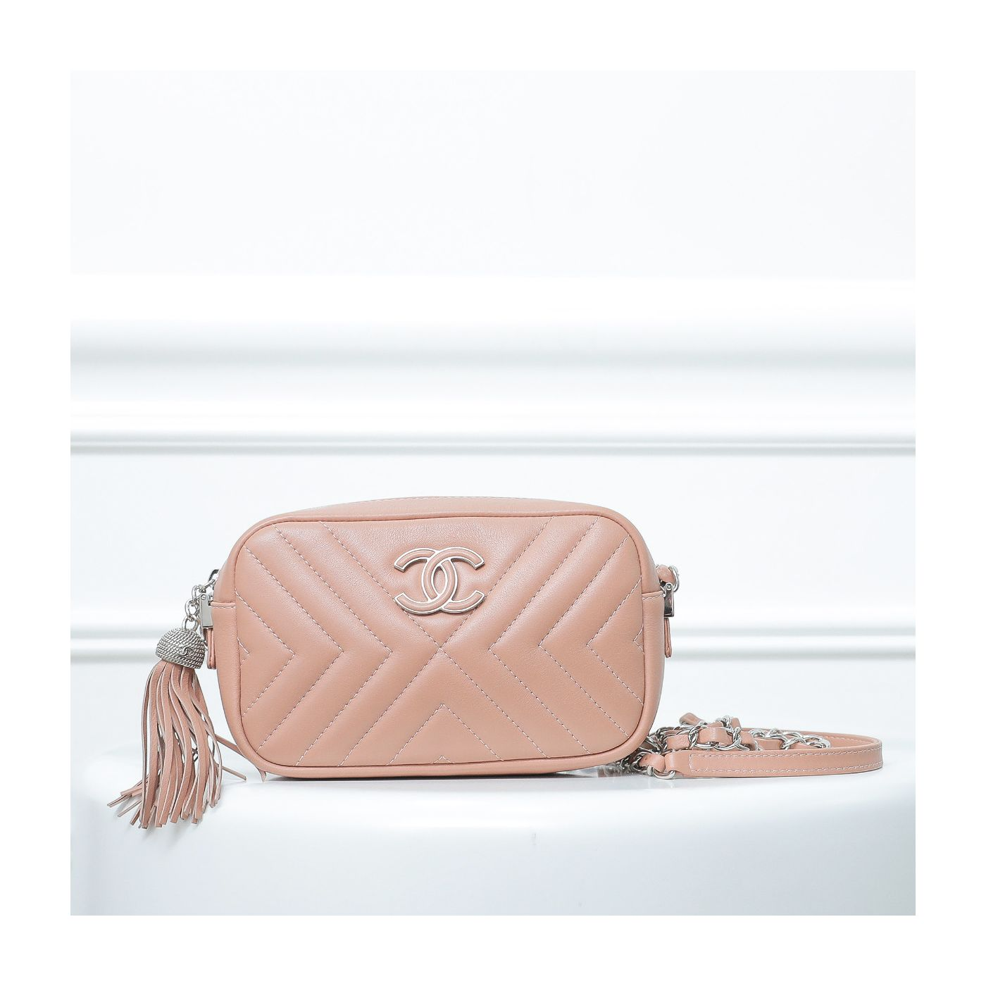 Chanel Nude Diagonal Quilted mini Camera Case Bag