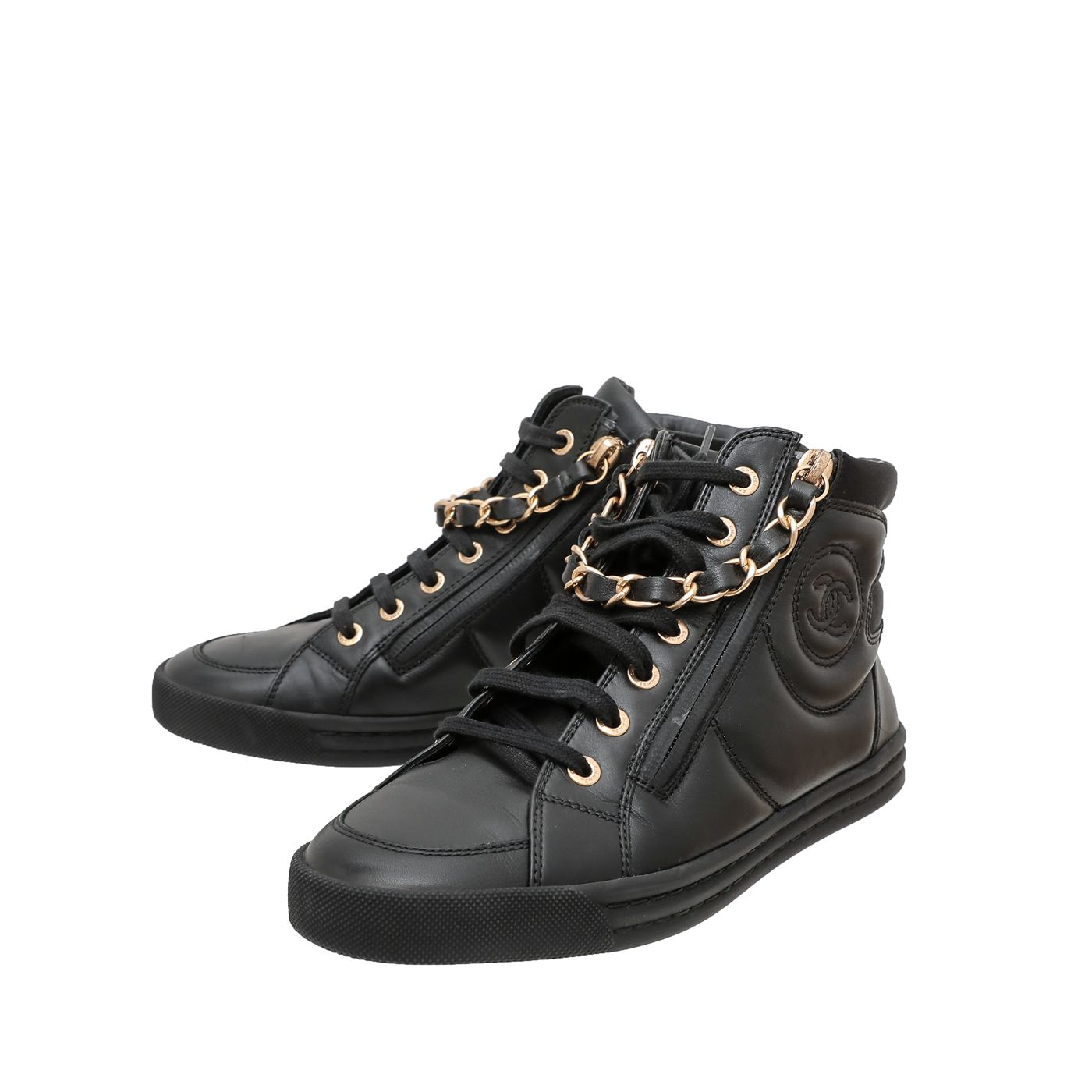 Chanel Black Double Zip Chain Detail High Top Sneakers 36
