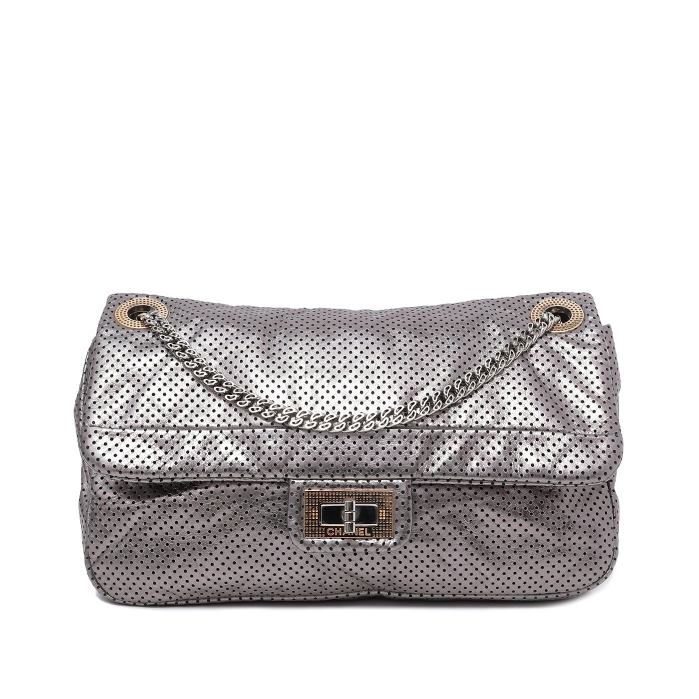 Chanel Metallic Silver Drill Perforated Reissue Bag