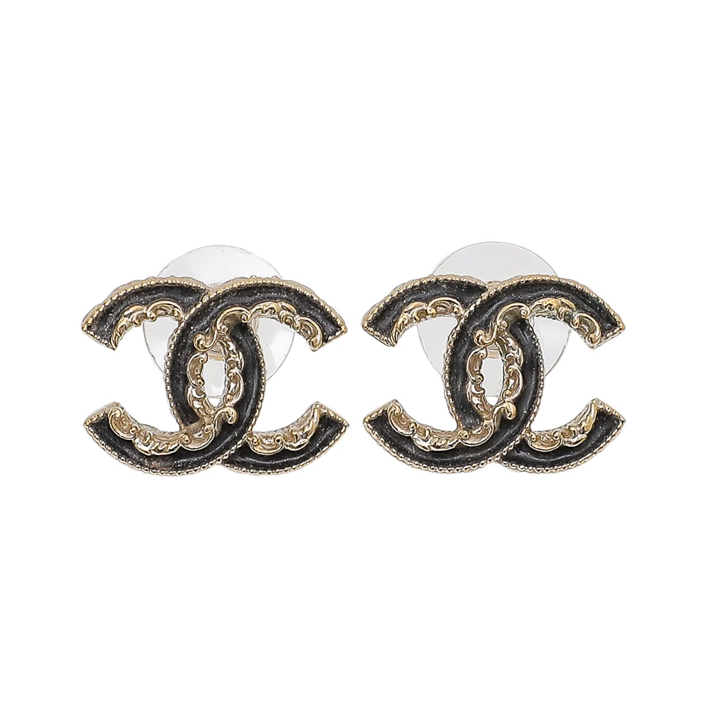 Chanel Black CC Enamel Baroque Stud Earrings