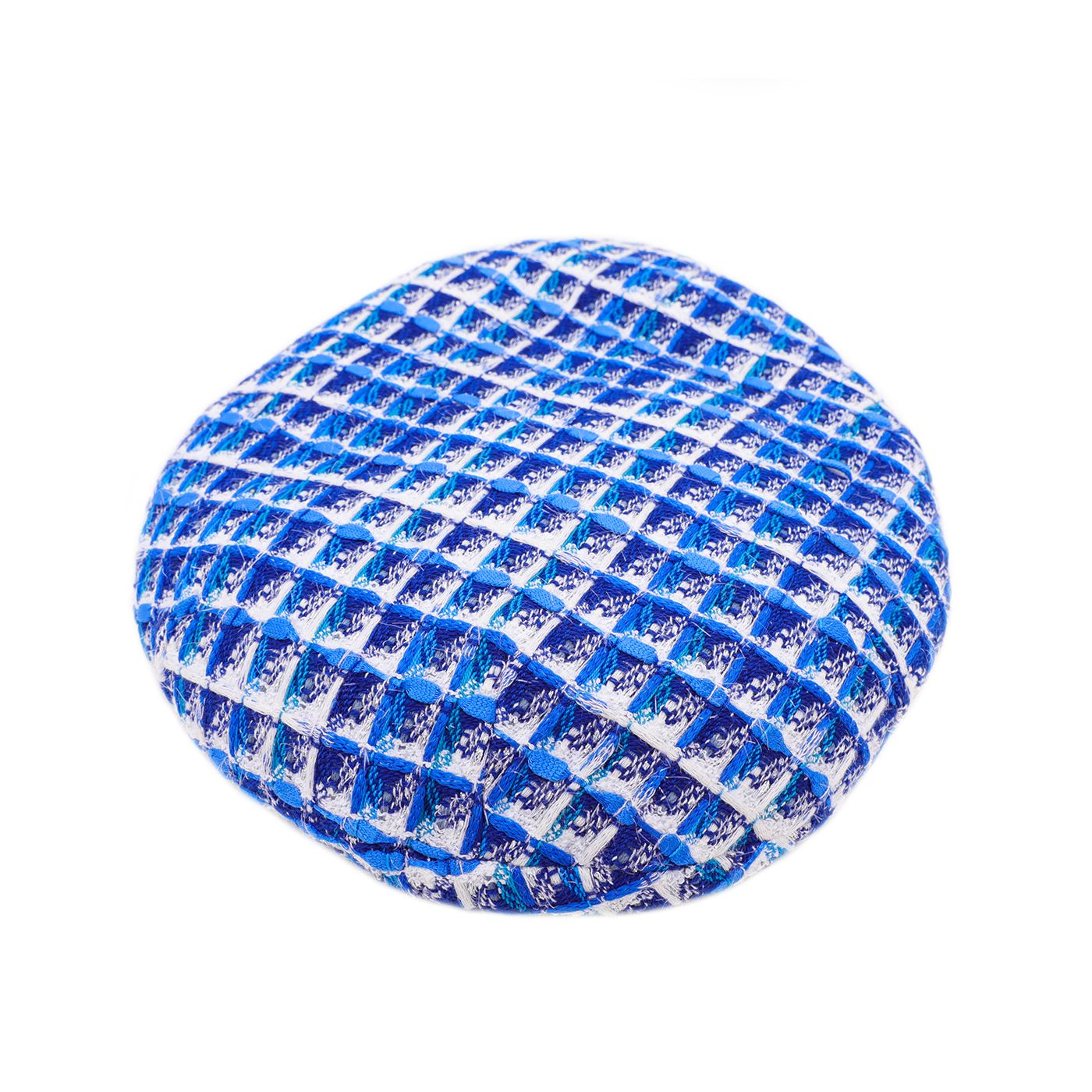 Chanel Blue White Fantasy Tweed Beret Hat Small