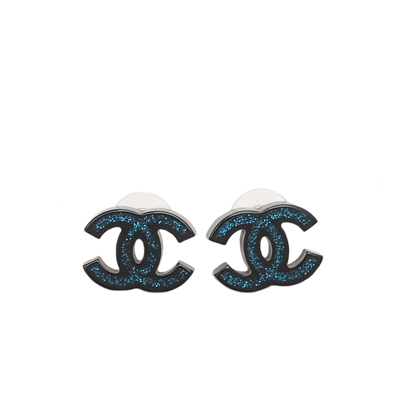Chanel Bicolor CC Glitter Resin Stud Earrings