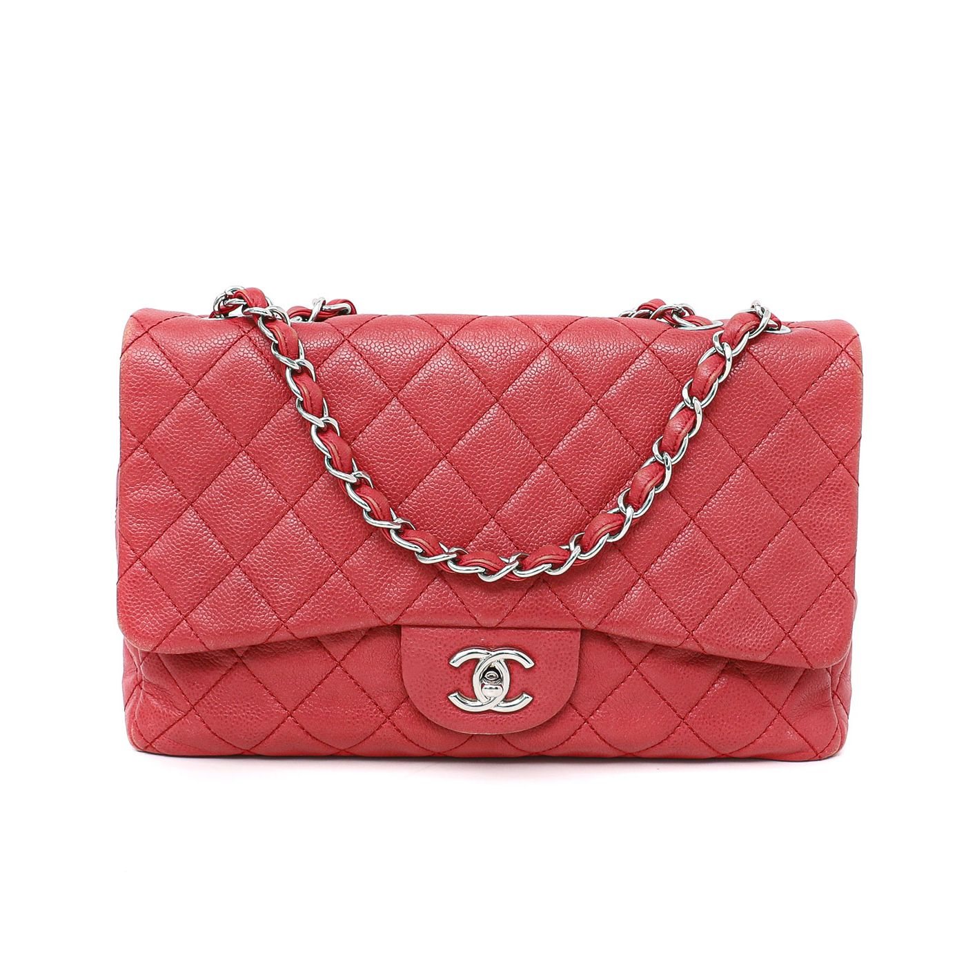 Chanel Dark Pink Caviar Single Flap Jumbo
