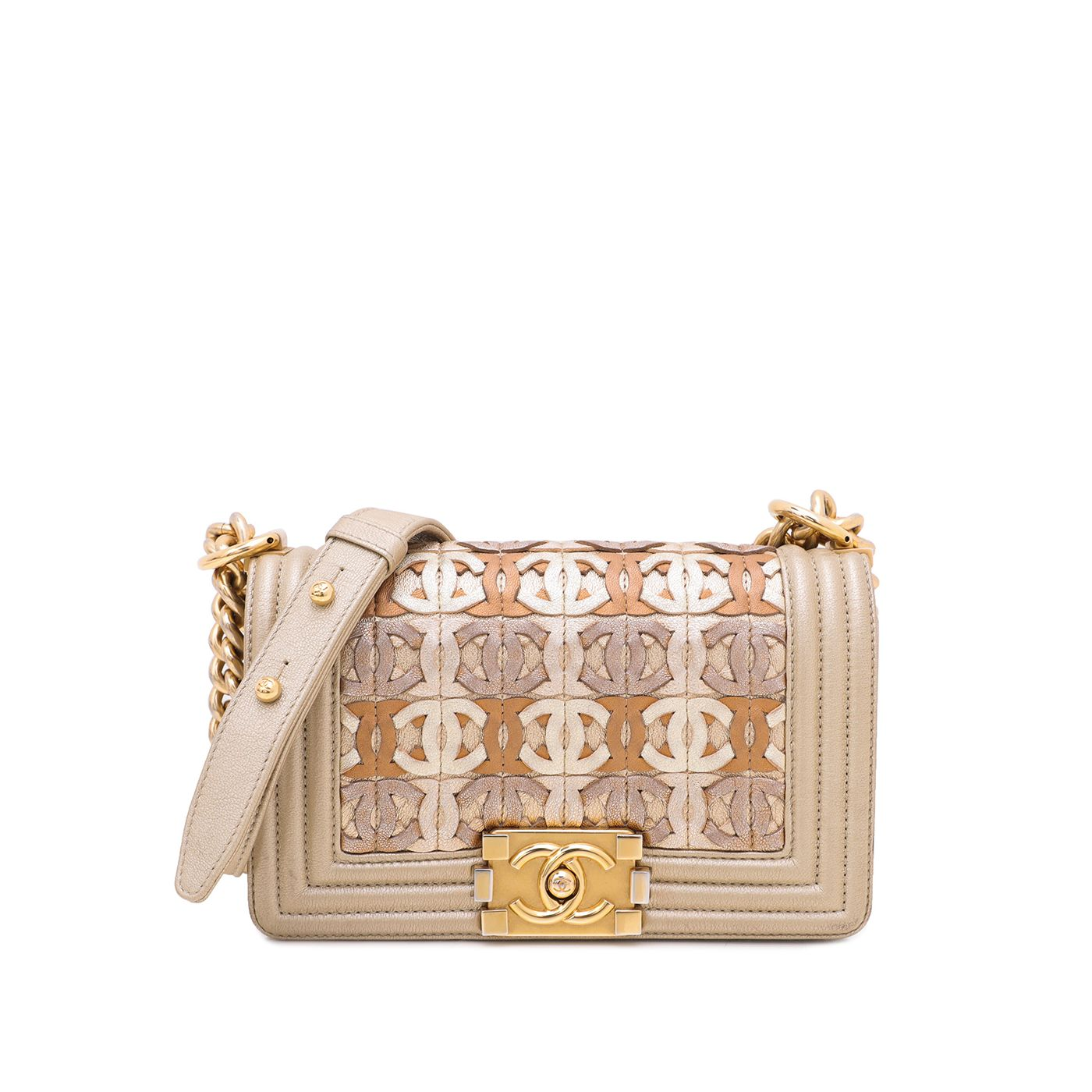 Chanel Champagne Le Boy Runway Gold Metallic CC Embellished Small Bag