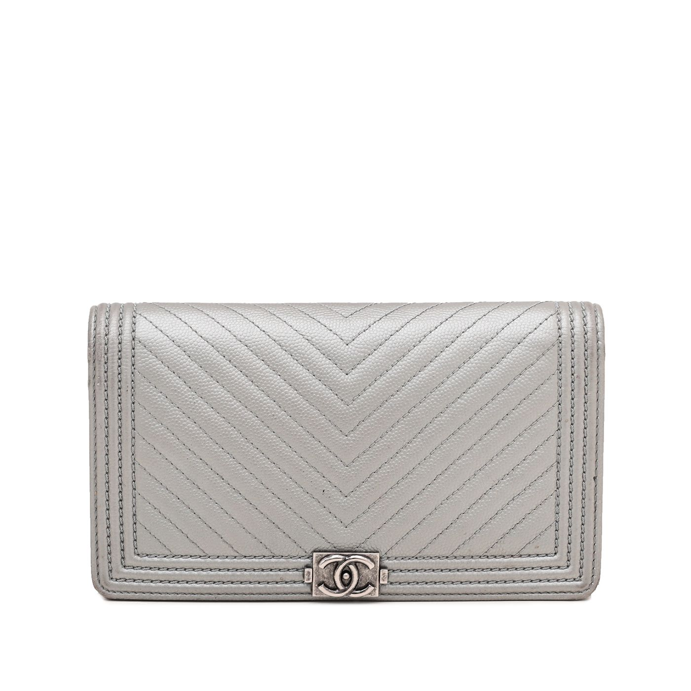 Chanel Grey Silver Le Boy Chevron Yen Wallet