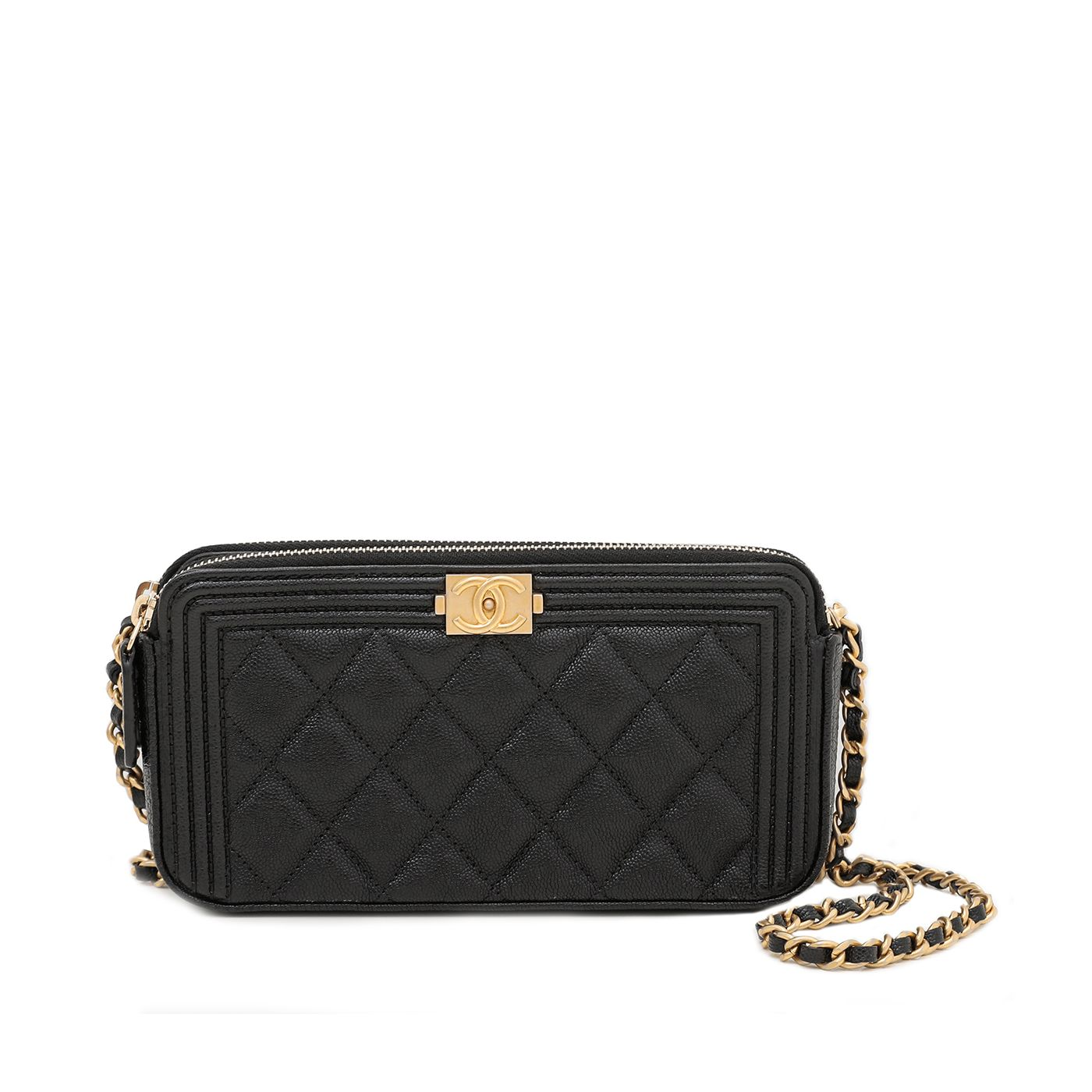 Chanel Black Le Boy Double Zip Around Wallet On Chain Caviar