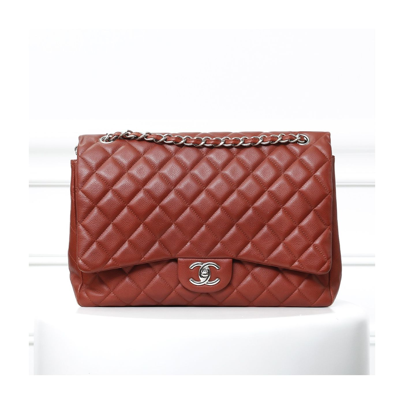 Chanel Red Orange maxi double flap