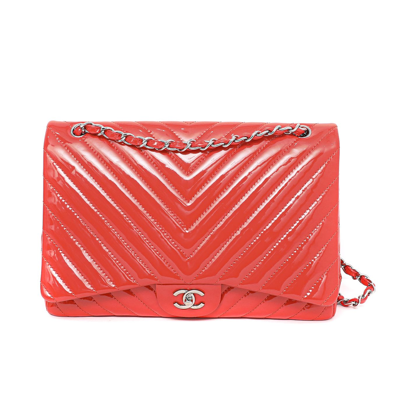 Chanel Red Maxi Single Flap Bag