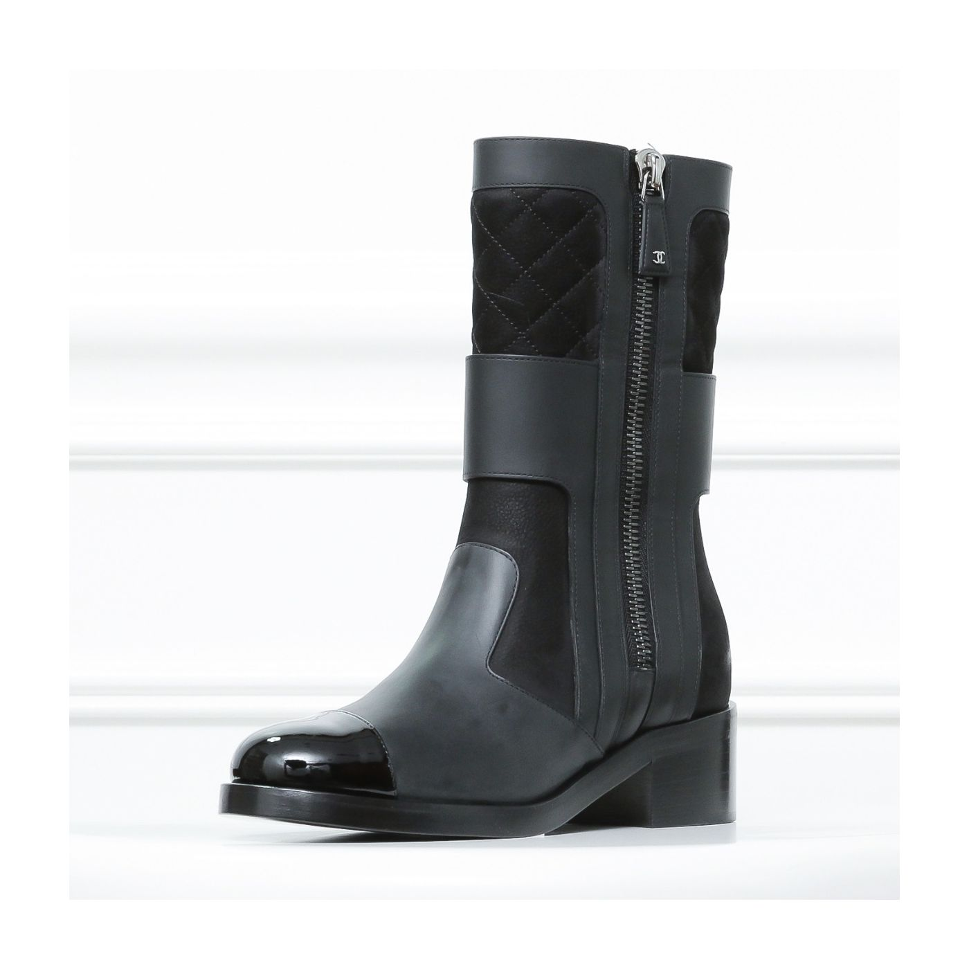 Chanel Black /Brown High Zip Up Boots 36.5