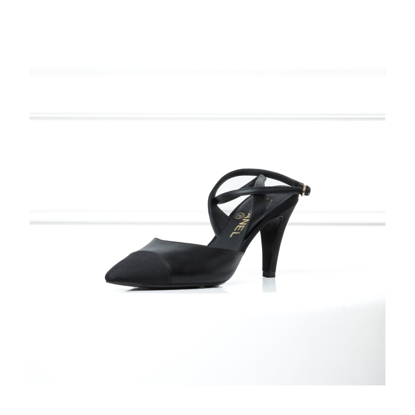 Chanel Black Pointed Cross Sandals 37