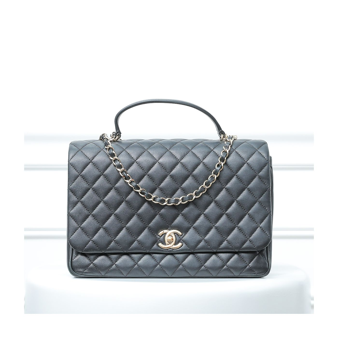 Chanel Black Quilted Top Handle Bag