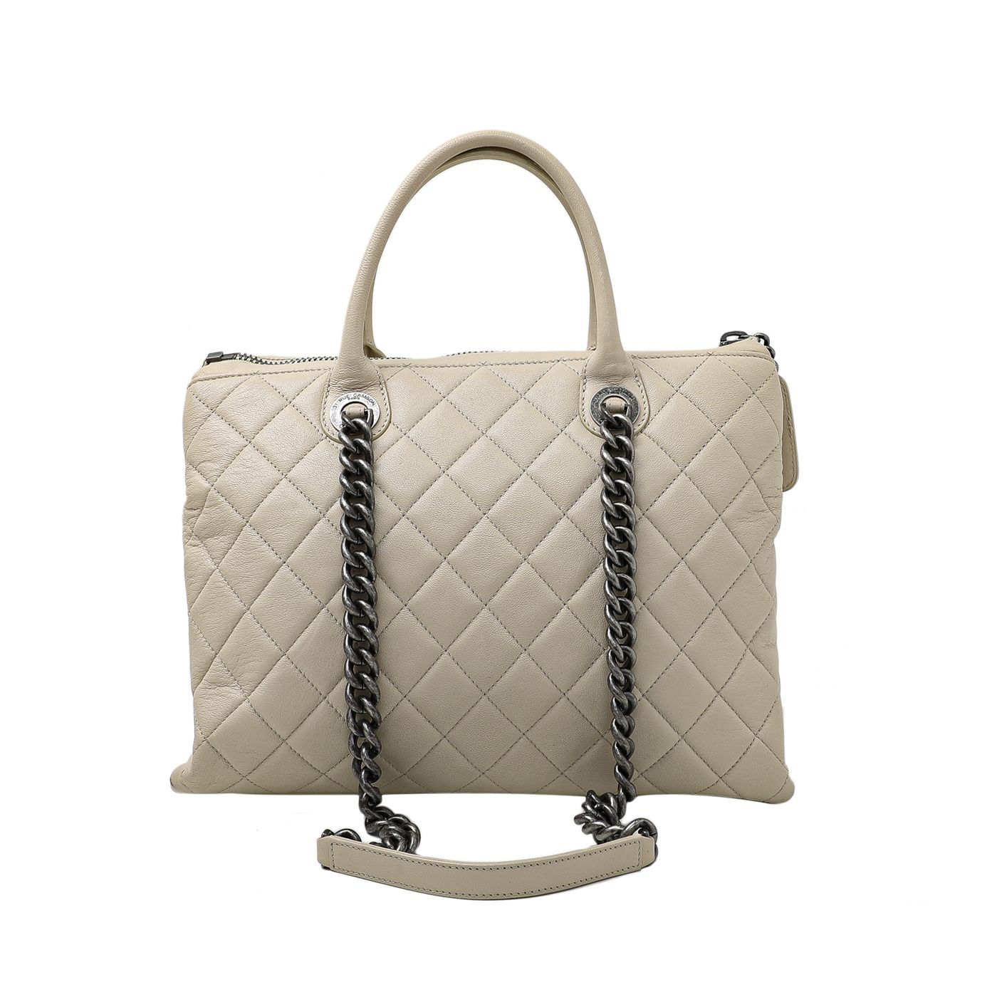 Chanel Light Beige Removable Chain 2 Way Shopping Bag