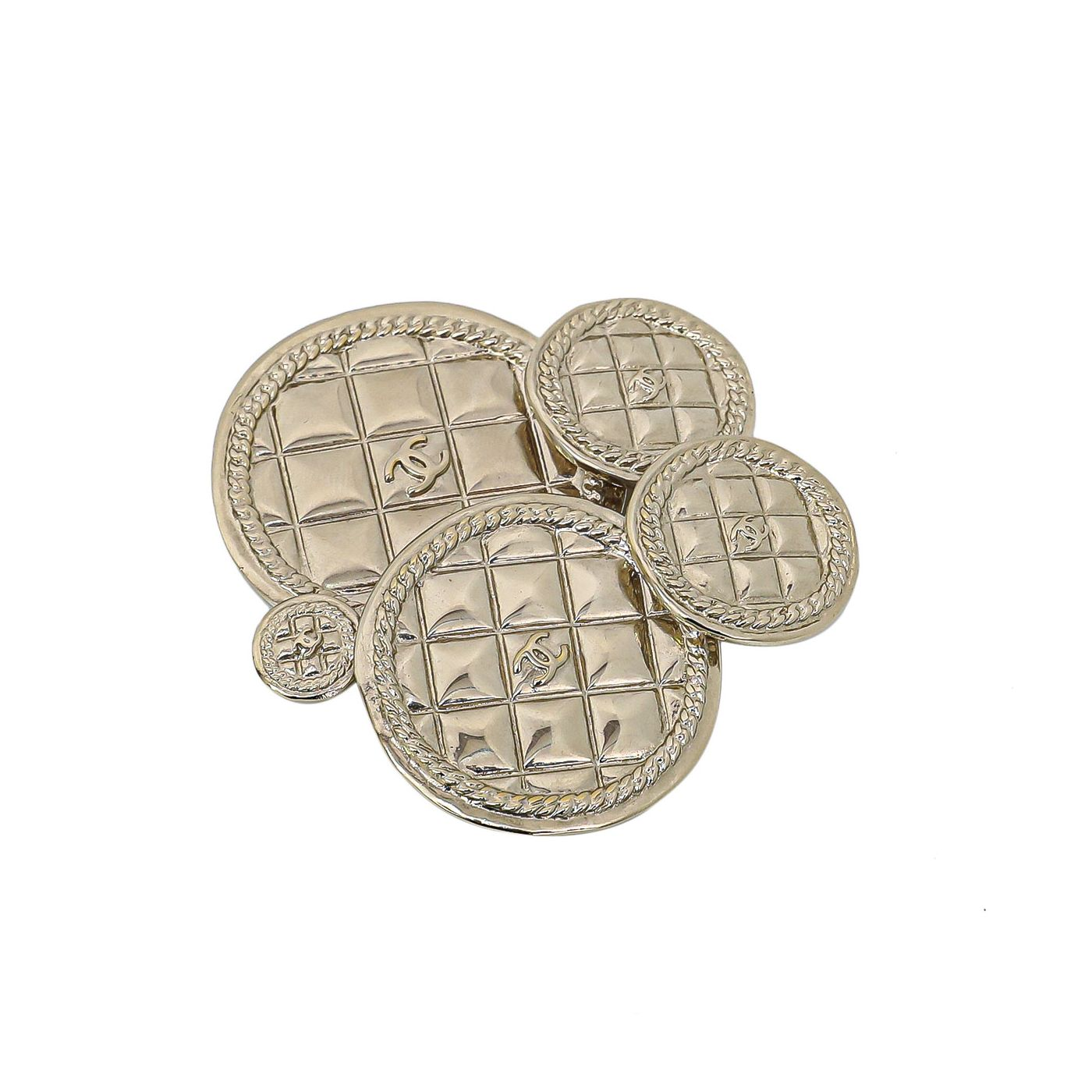 Chanel Runway Quilted 5 Medallions Brooch
