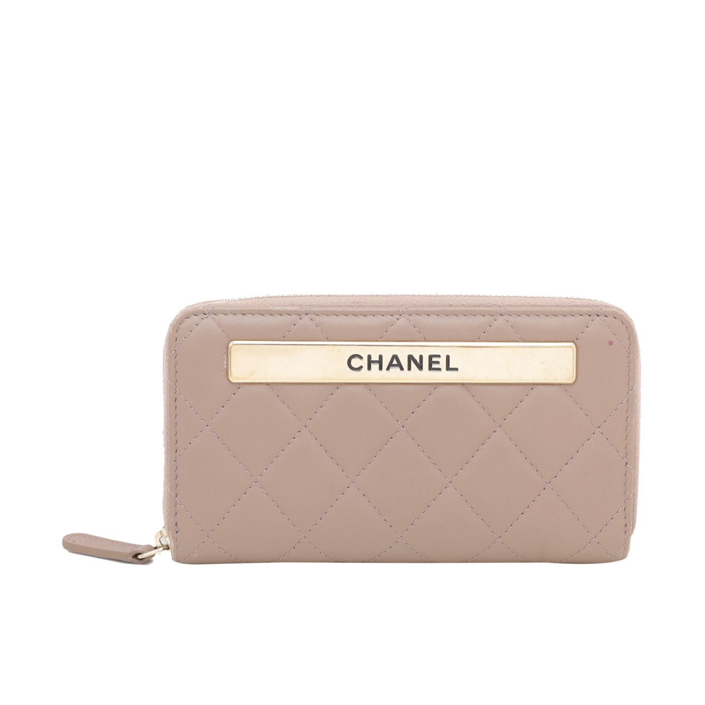 Chanel Light Brown Trendy Zip Around Wallet