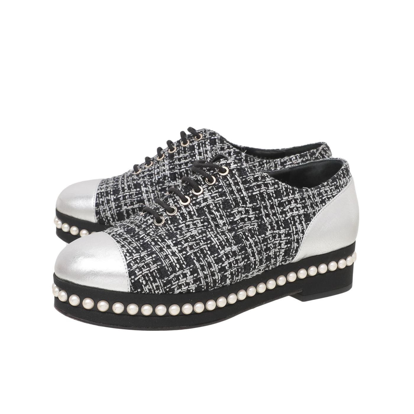 Chanel Black Silver Tweed Pearl Lace Up Oxford 37