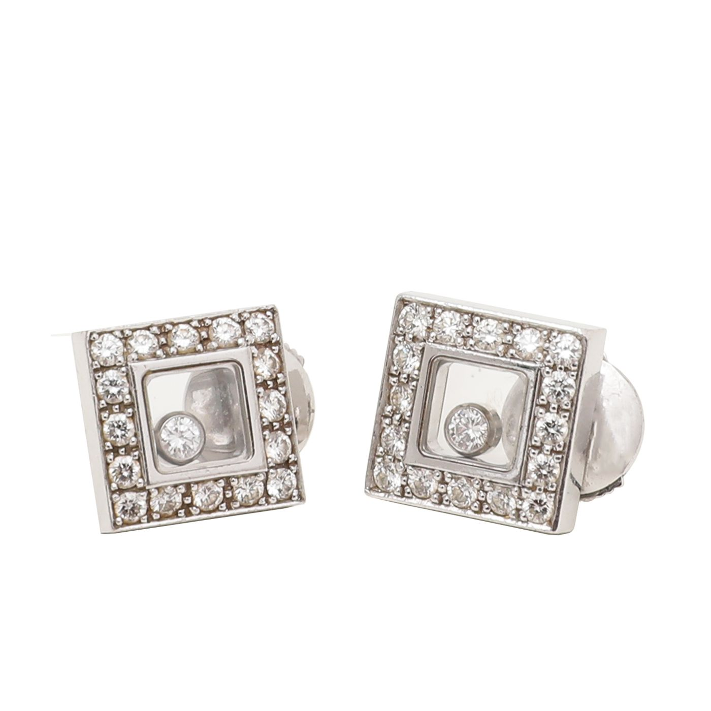 Chopard 18K White Gold Happy Diamond Square Earrings