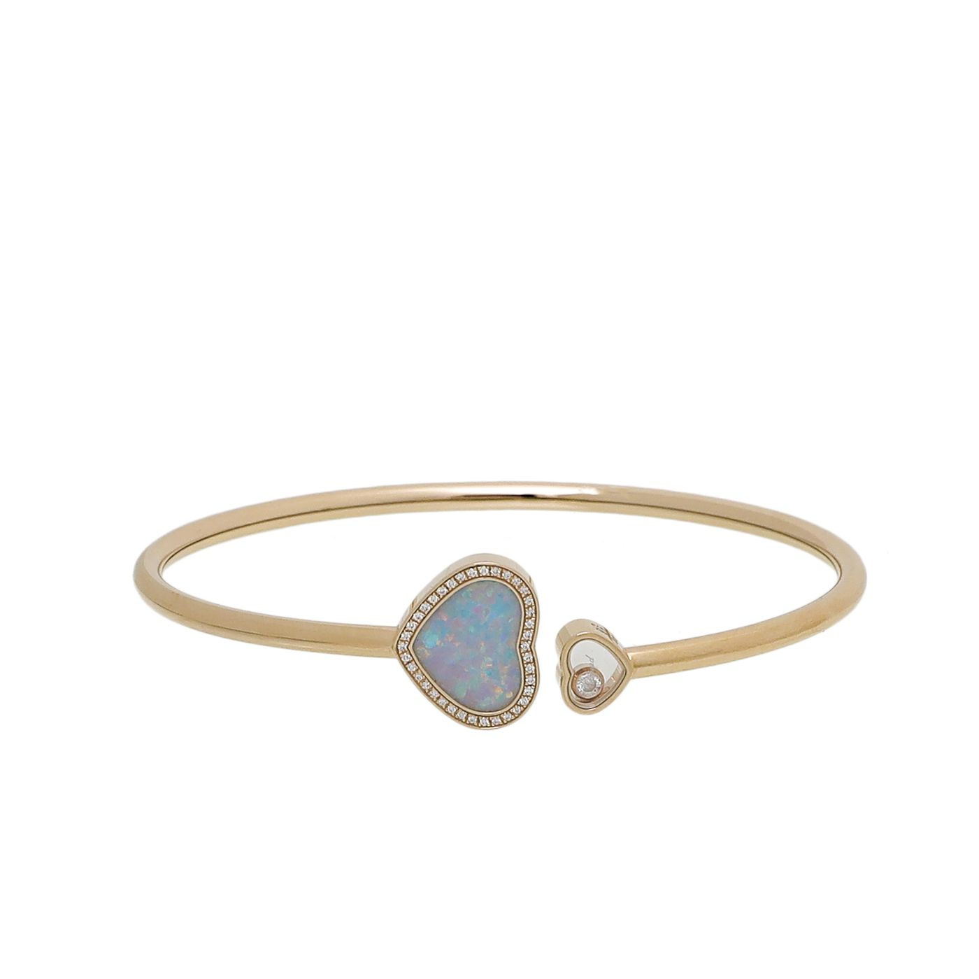Chopard 18K Yellow Gold Opal Diamond Happy Hearts Bangle Bracelet