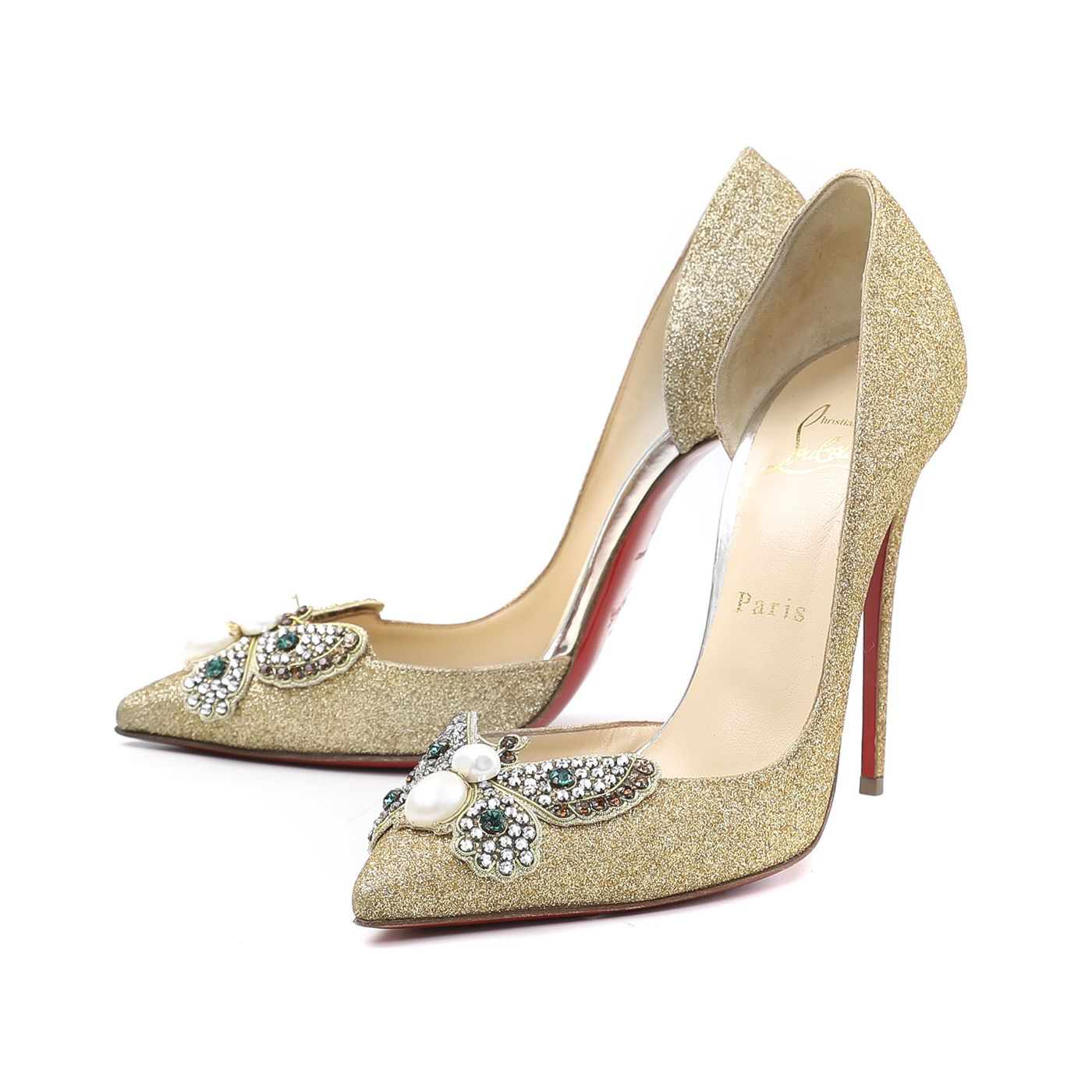 Christian Louboutin Gold Barzas 120MM Glitter Pumps 37