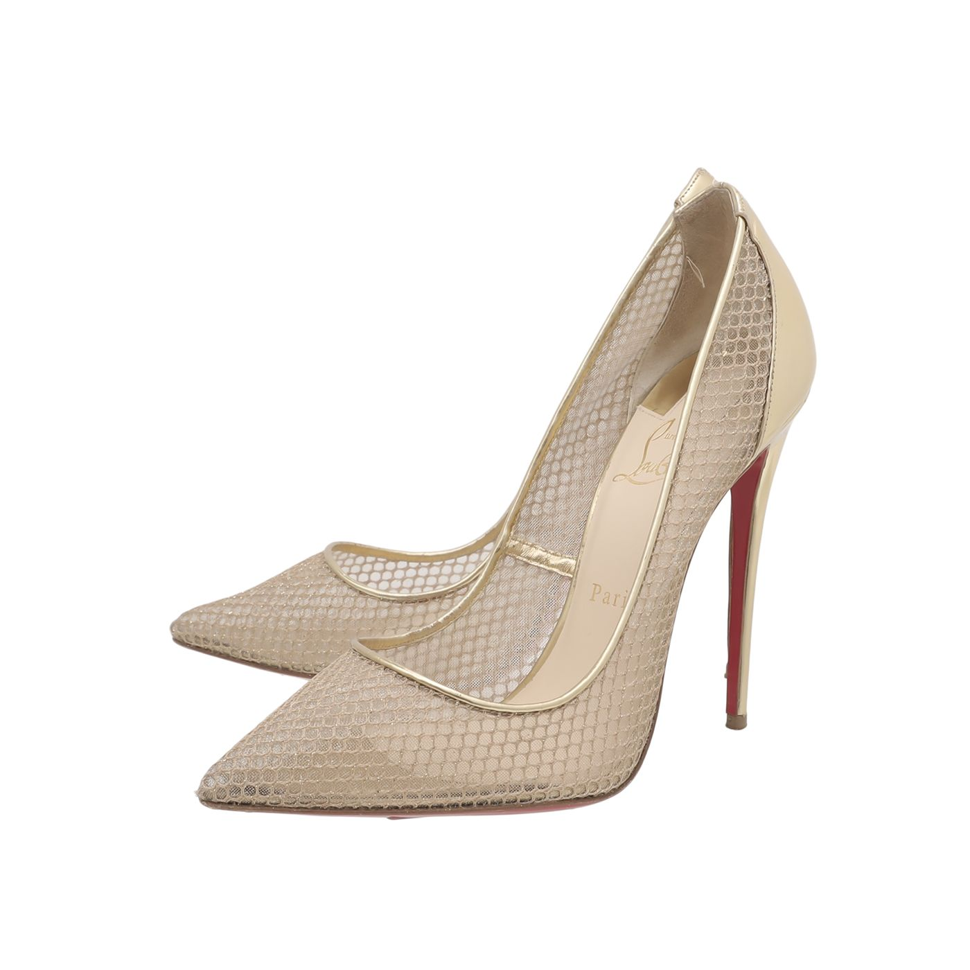Christian Louboutin Gold Follies Resille 120 Metallic Pumps 40.5