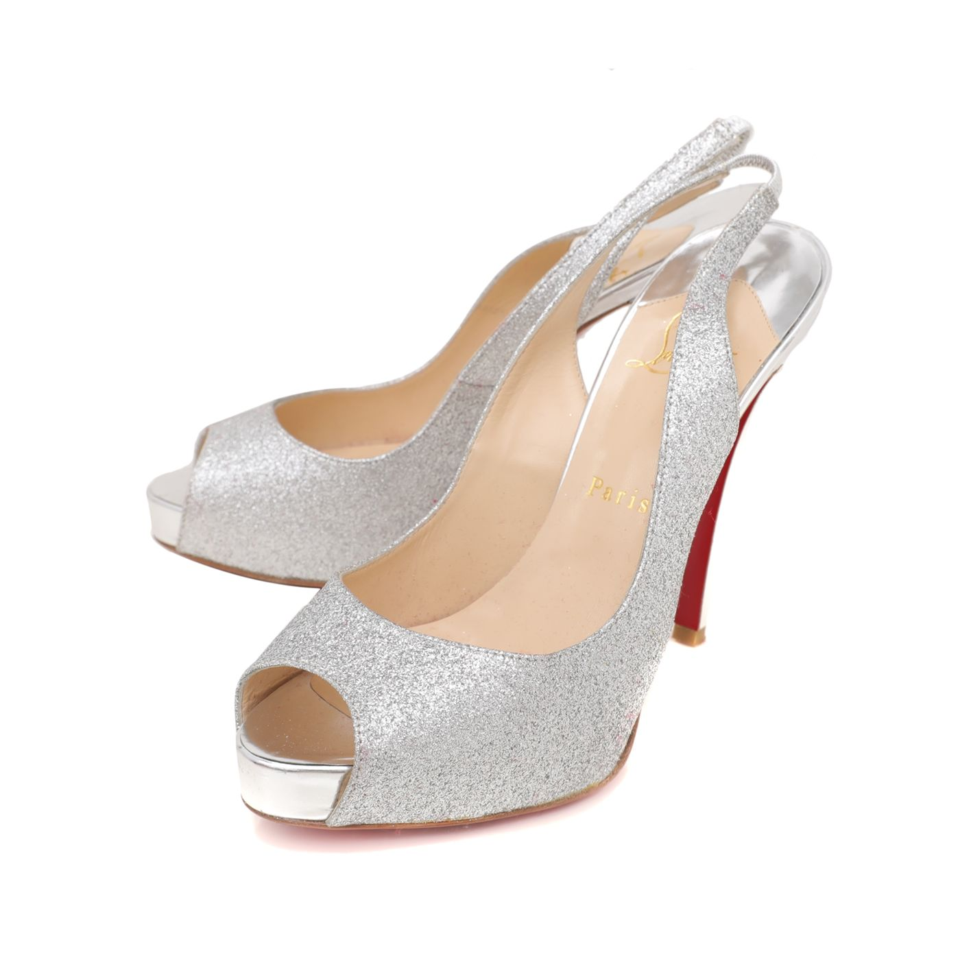 Christian Louboutin Silver Glitter No Prive 120 Slingback Pumps 38.5