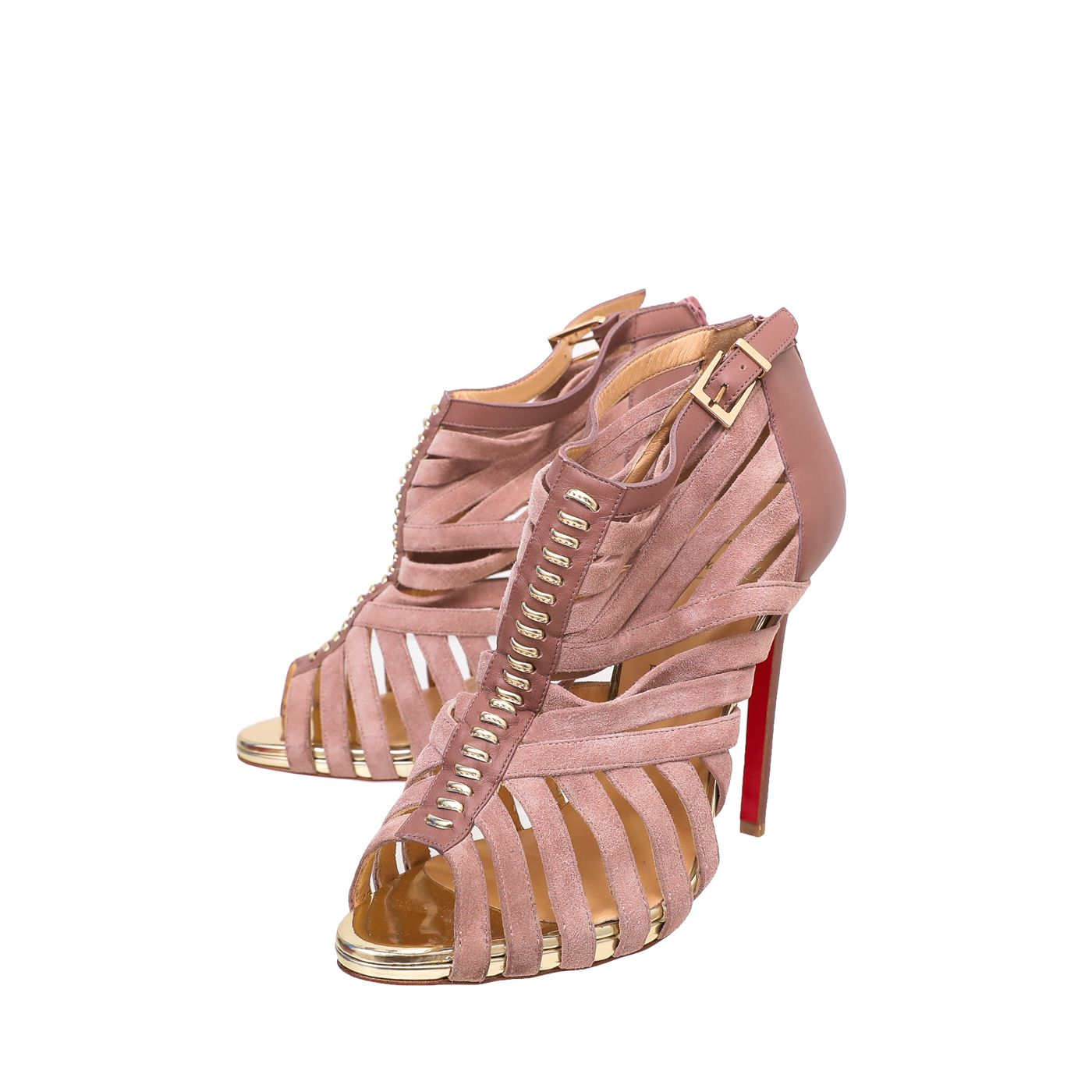 Christian Louboutin Light Rosewood Karina Caged Ankle Bootie 40.5