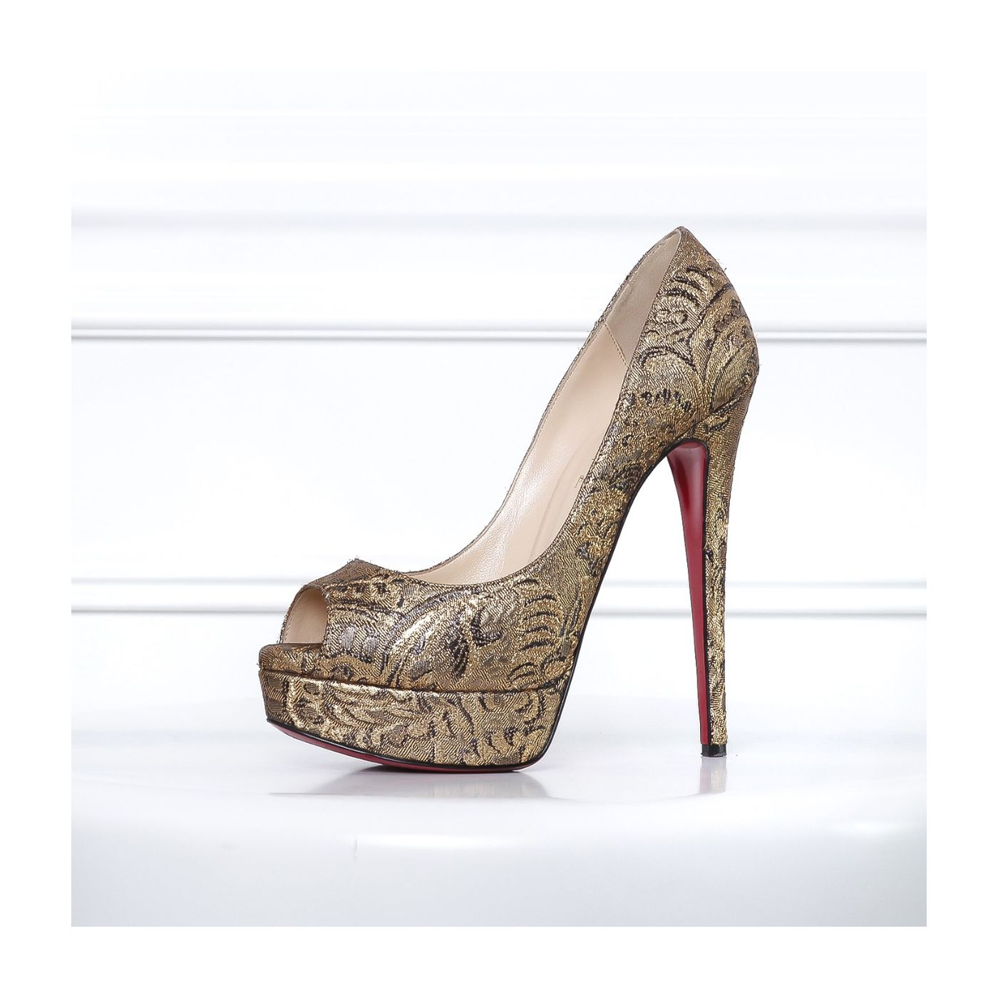 CL Metallic Gold Embroidered Lady Peep Pumps 38