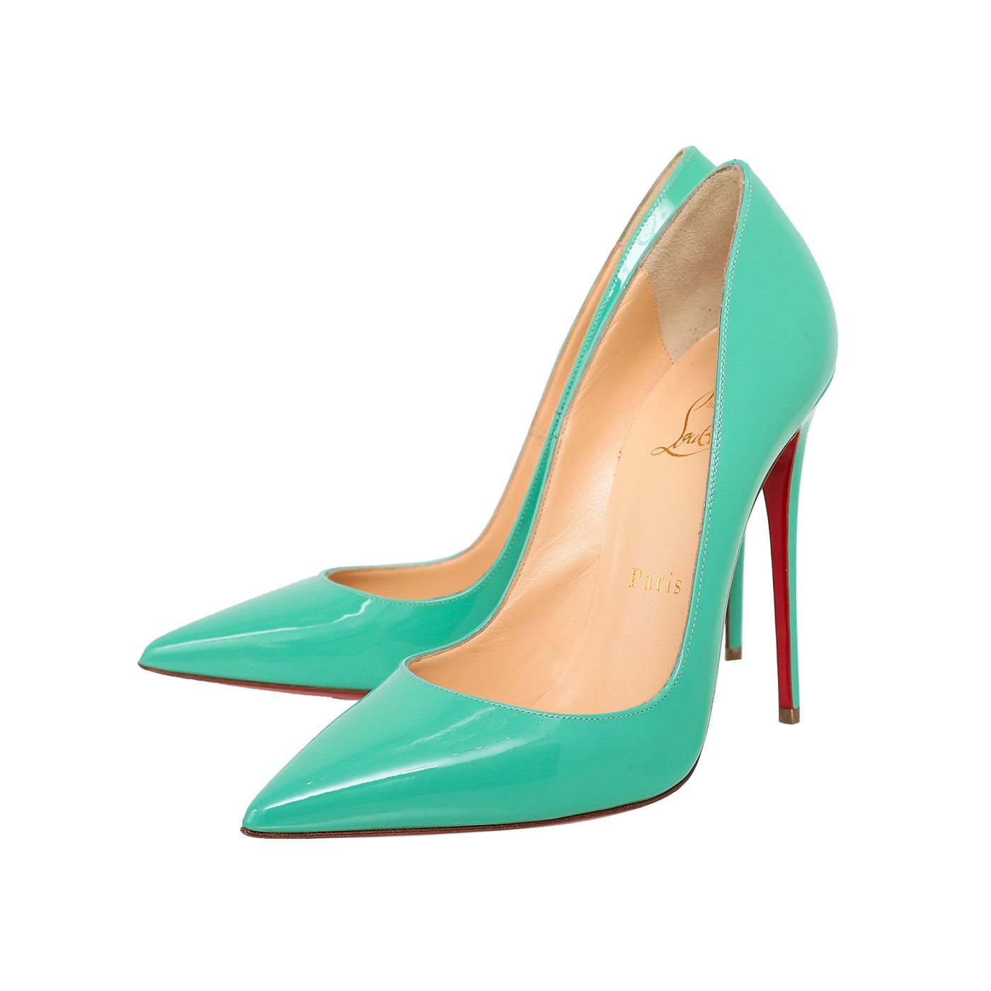 Christian Louboutin Mint Green Pigalle Follies 100mm Pumps 37.5