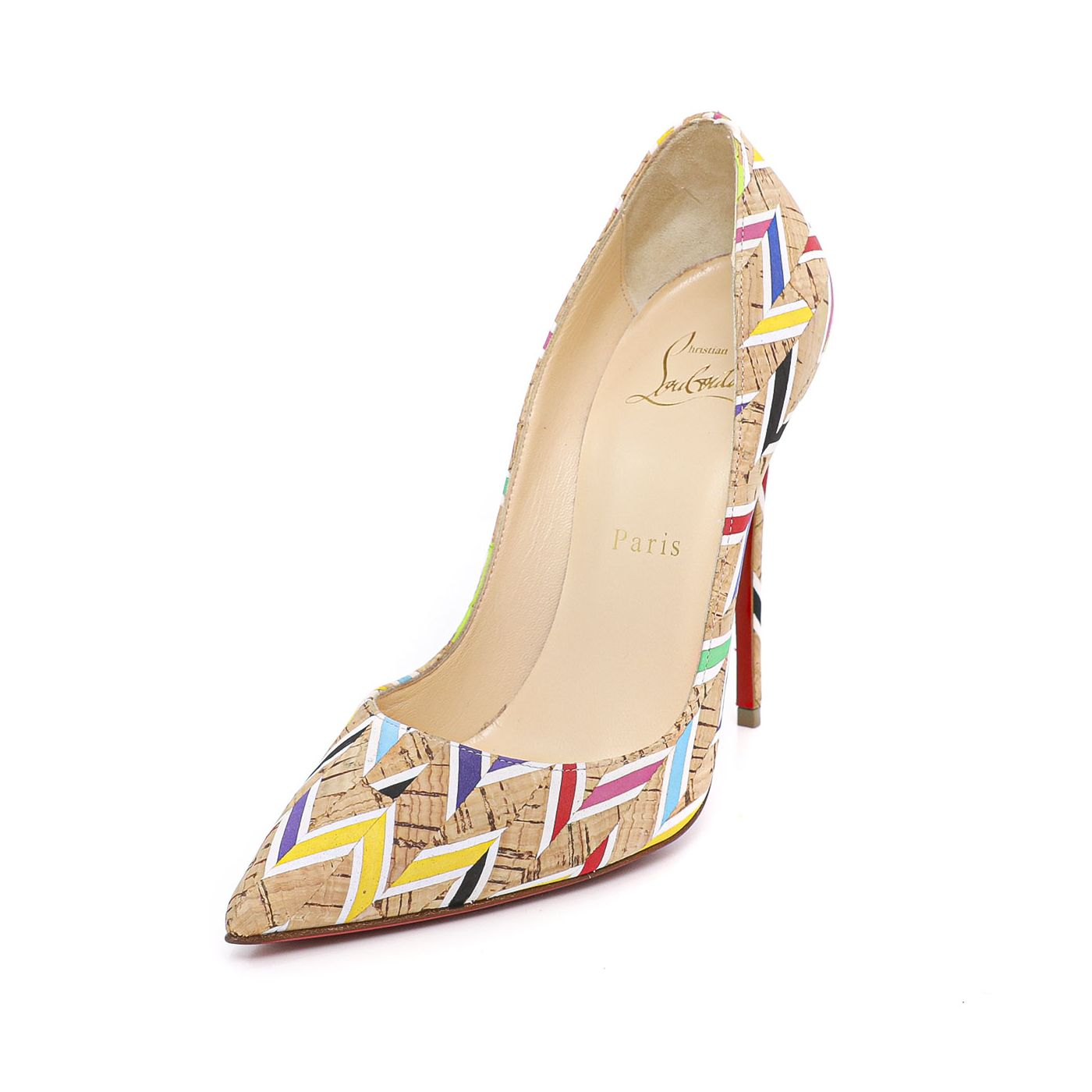 Christian Louboutin Follies Cork Printed Pigalle Pumps  37