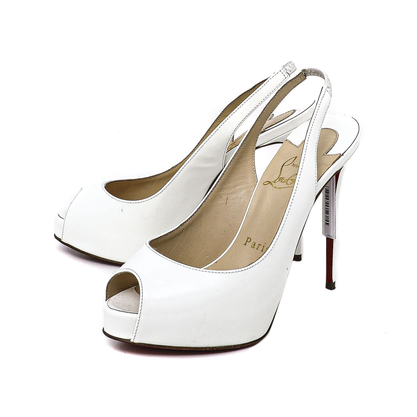 Christian Louboutin White Patent Private Number 120mm Pumps Size 35