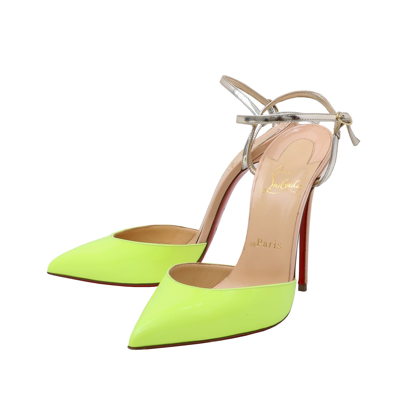 Christian Louboutin Neon Yellow Riverina Sandals 120mm 38