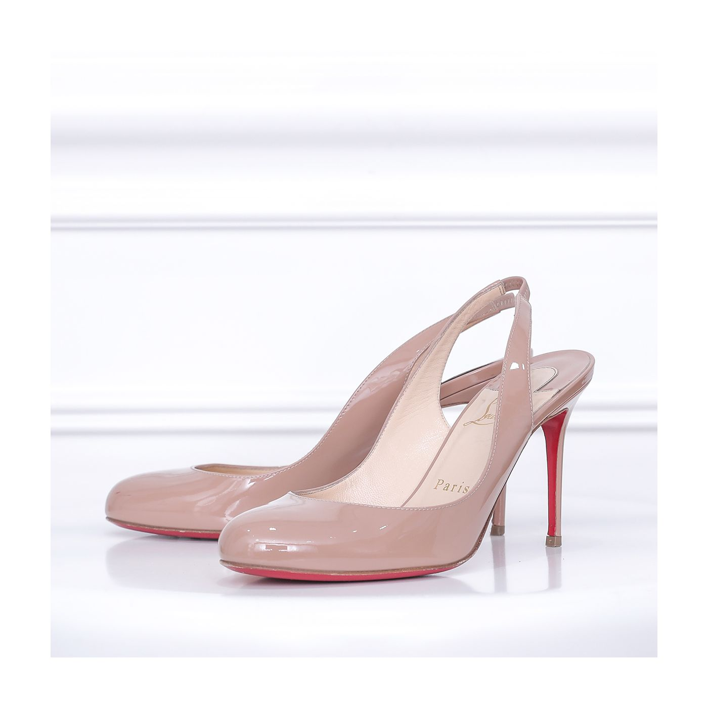 Christian Louboutin Nude Simple Slingback Pumps 37