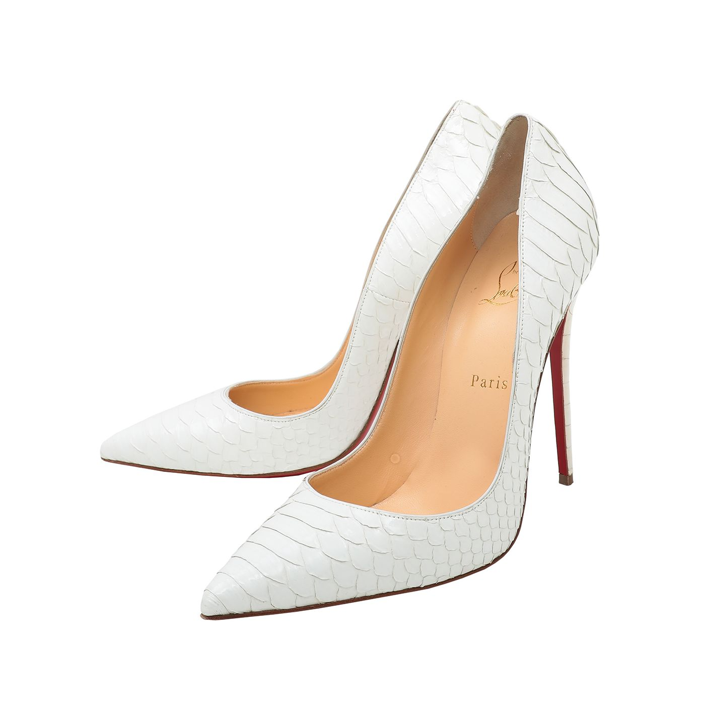 Christian Louboutin White Crystal Python So Kate 120 Pumps 41