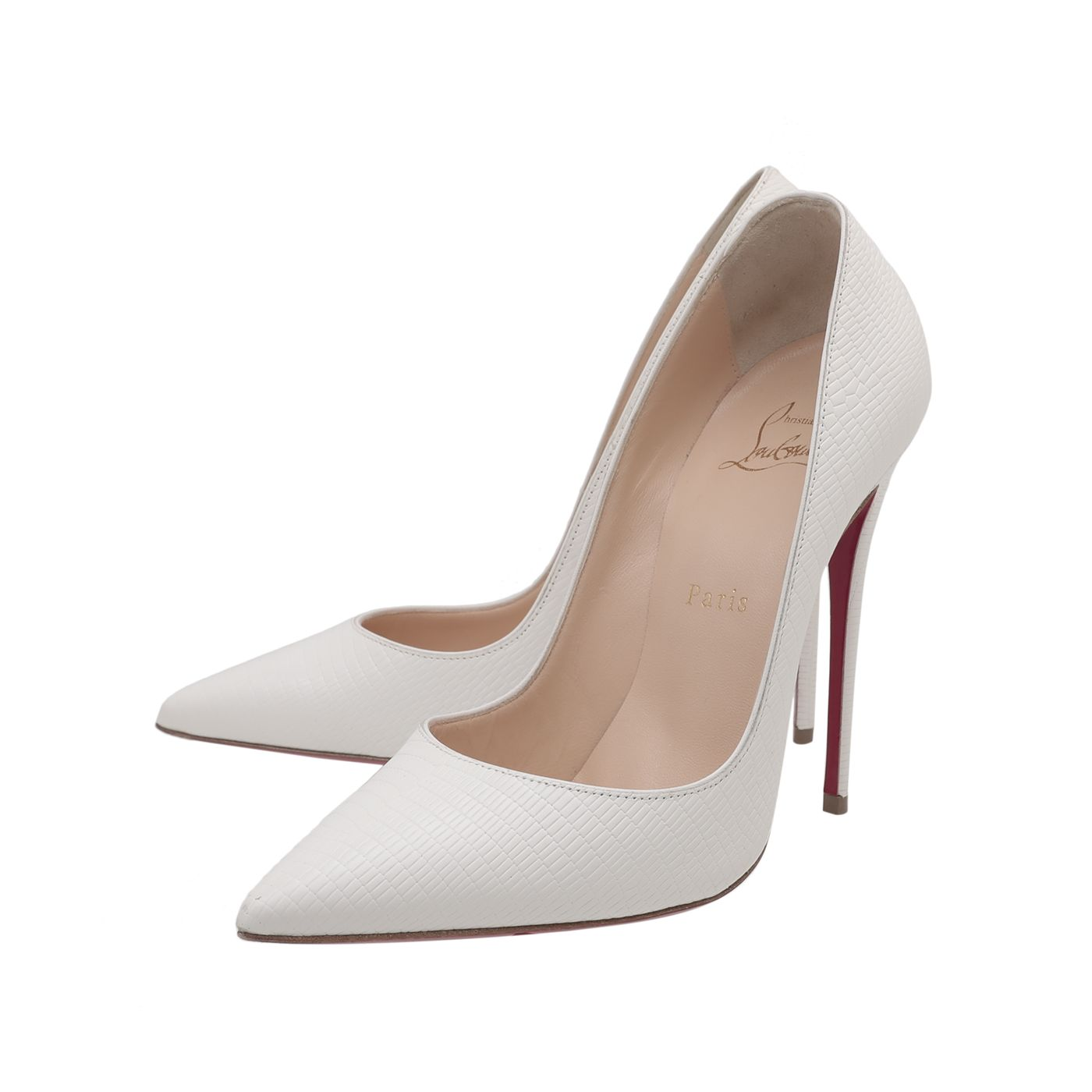 Christian Louboutin White Lizard Embossed So Kate 120mm Pumps 38.5