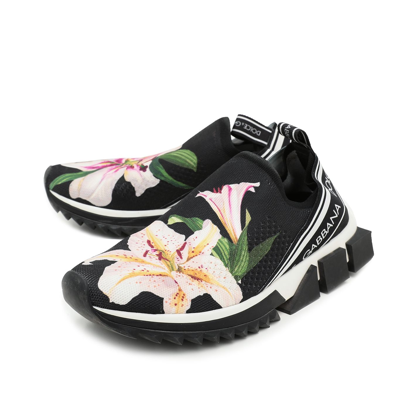 Dolce & Gabbana Bicolor Floral Print Stretch Mesh Sorrento Sneakers 39.5