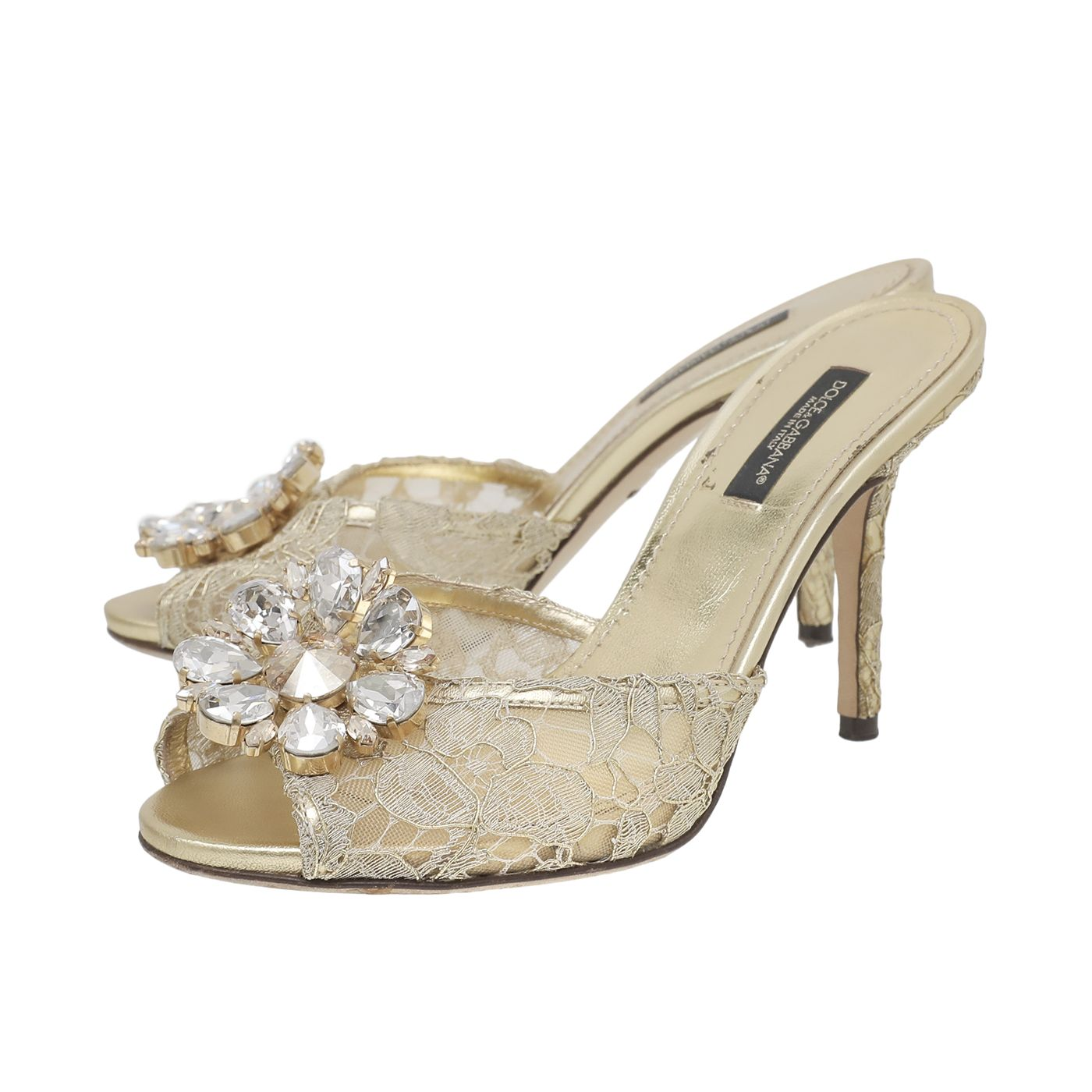 Dolce & Gabbana Gold Keira Crystal Embellished Lace Mid Heels Mules 36