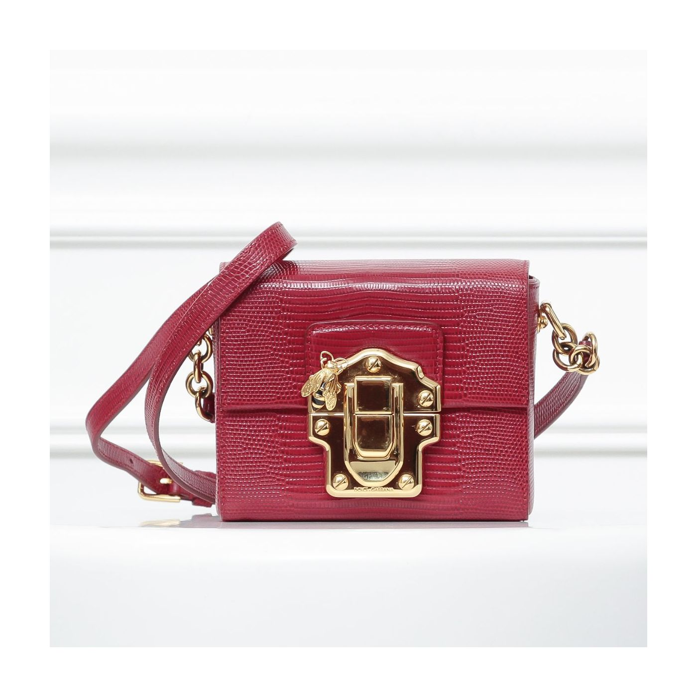 Dolce & Gabbana Red Lucia Bee Lizard Embossed Shoulder Bag