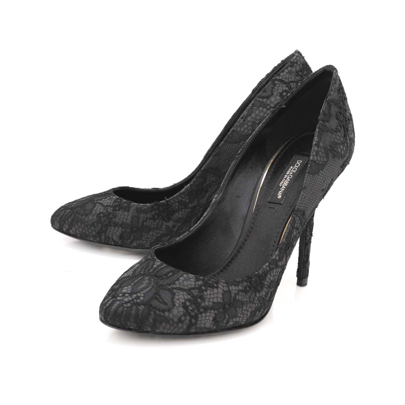 Dolce & Gabbana Black Satin and Lace Pumps 36.5