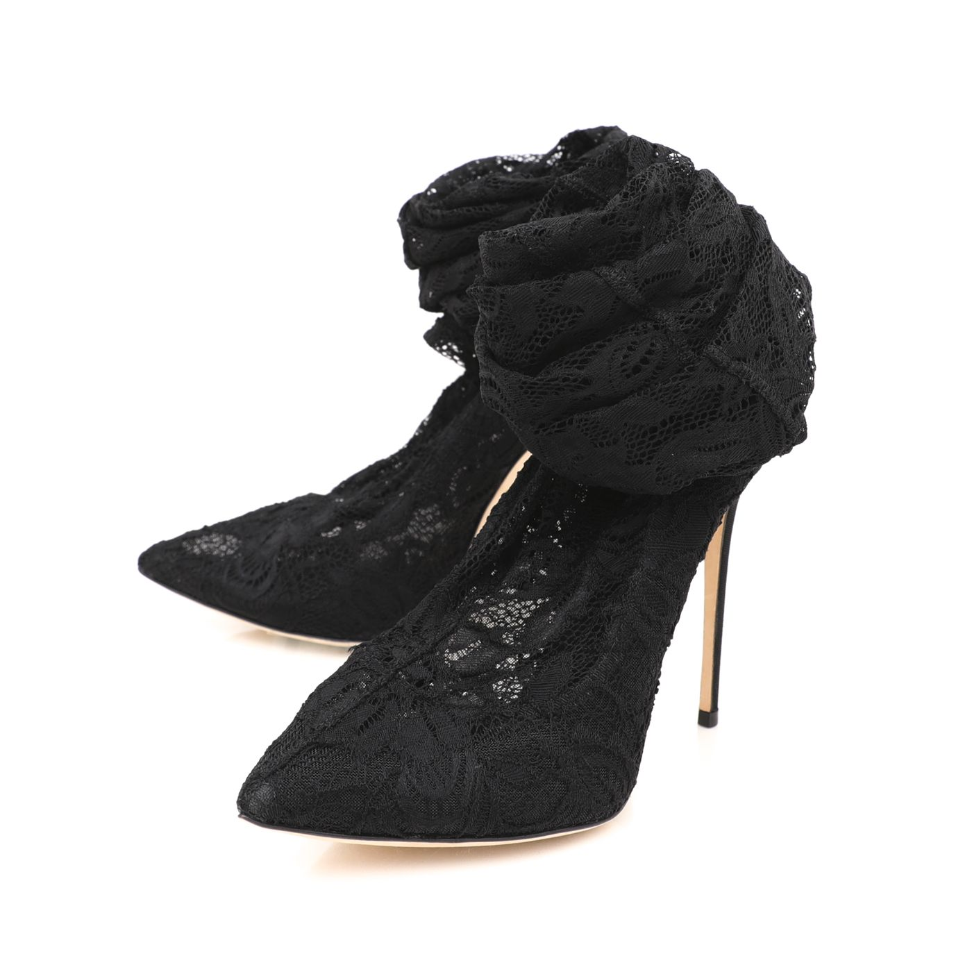 Dolce & Gabbana Black Stretch Lace and Grosgrain High Boots 37