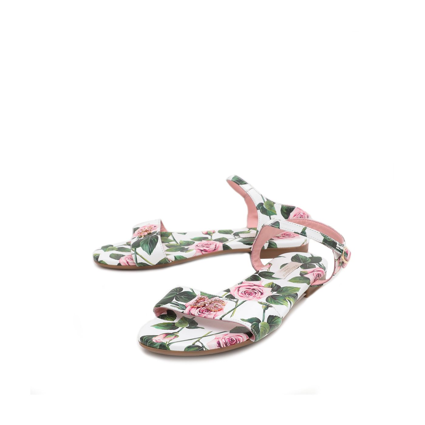 Dolce & Gabbana Tropical Rose Print Sandals 36