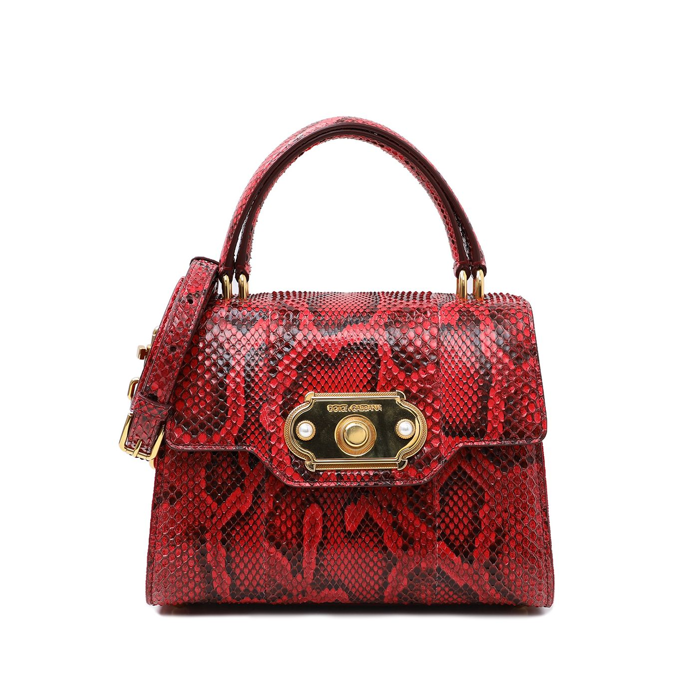 Dolce & Gabbana Red Python Welcome Top Handle